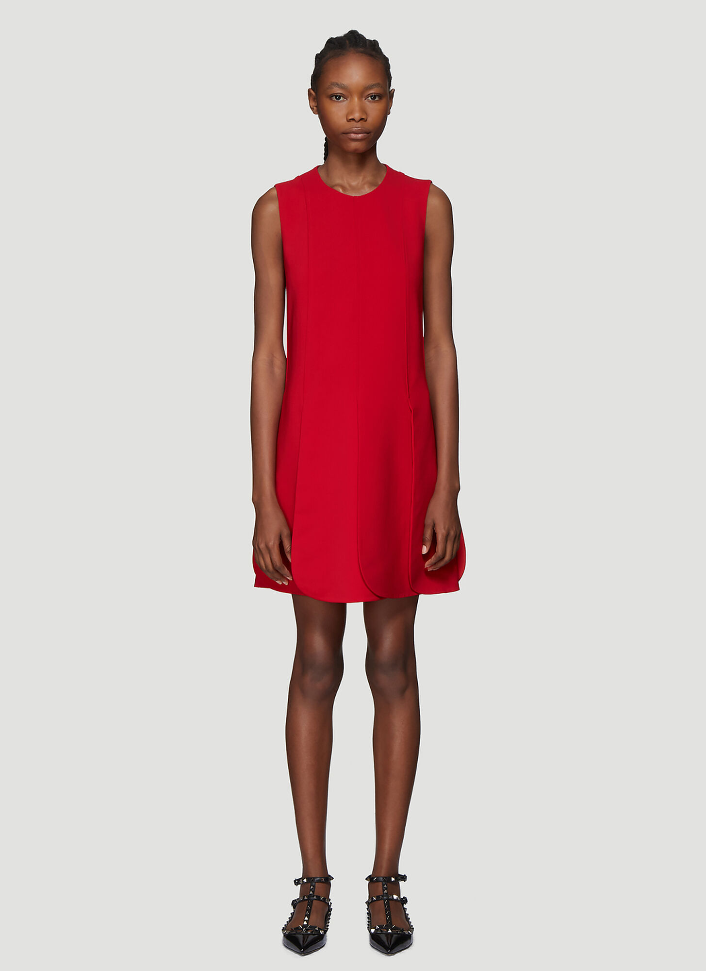 Valentino Petal Hem Dress in Red