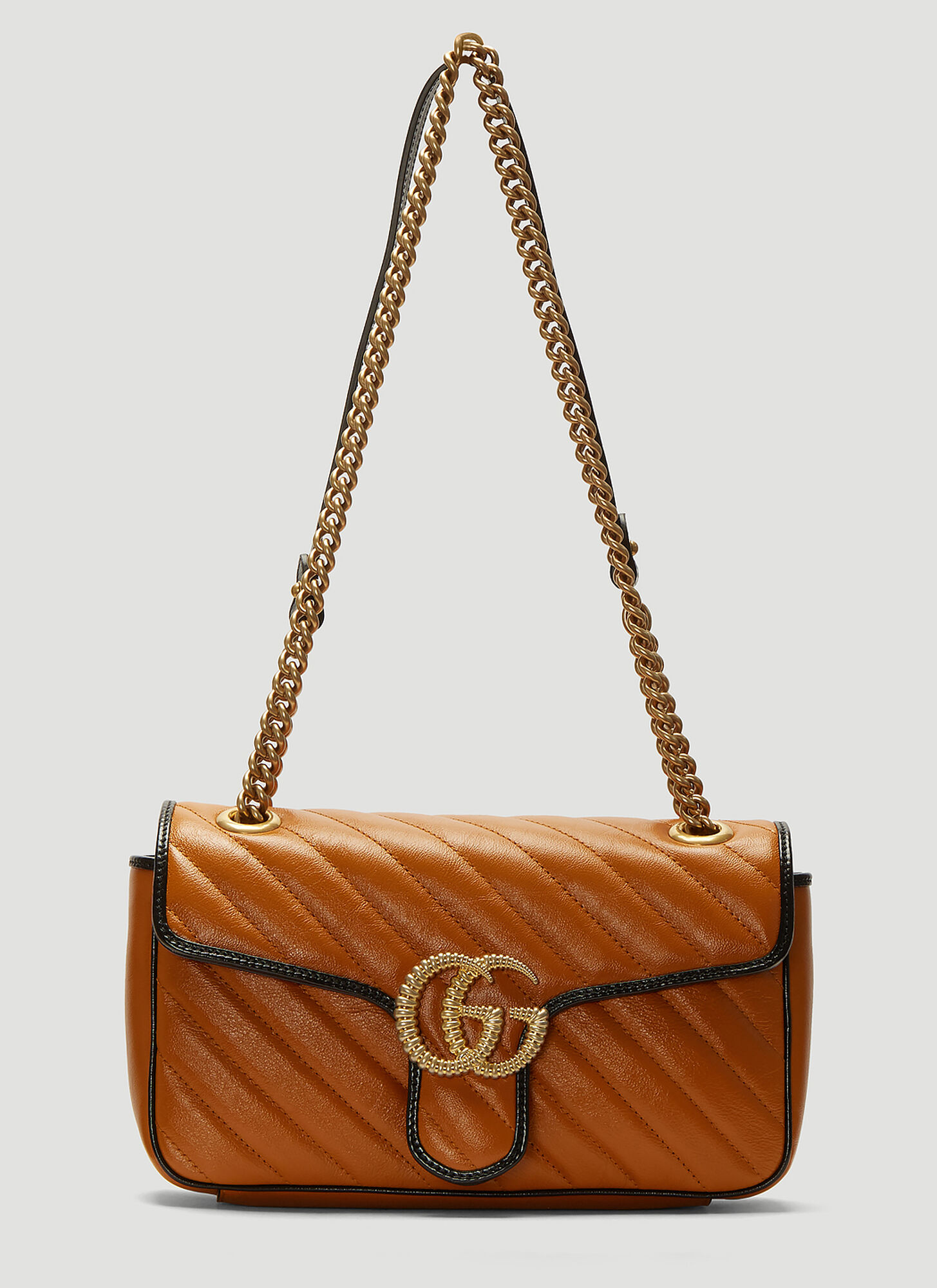 Gucci Marmont Leather Shoulder Bag in Brown