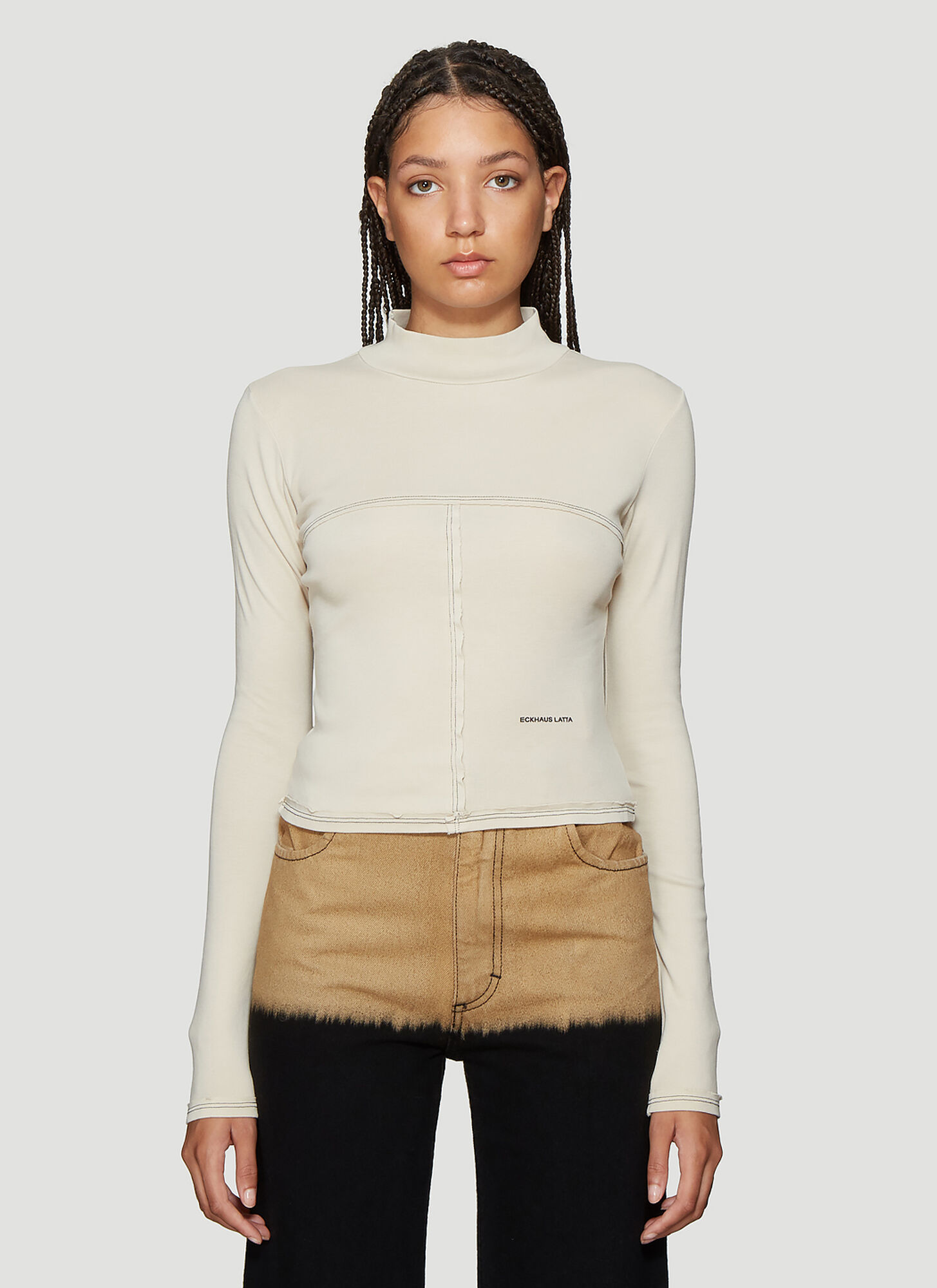 Eckhaus Latta Lapped Baby Turtleneck Cropped Top in Beige