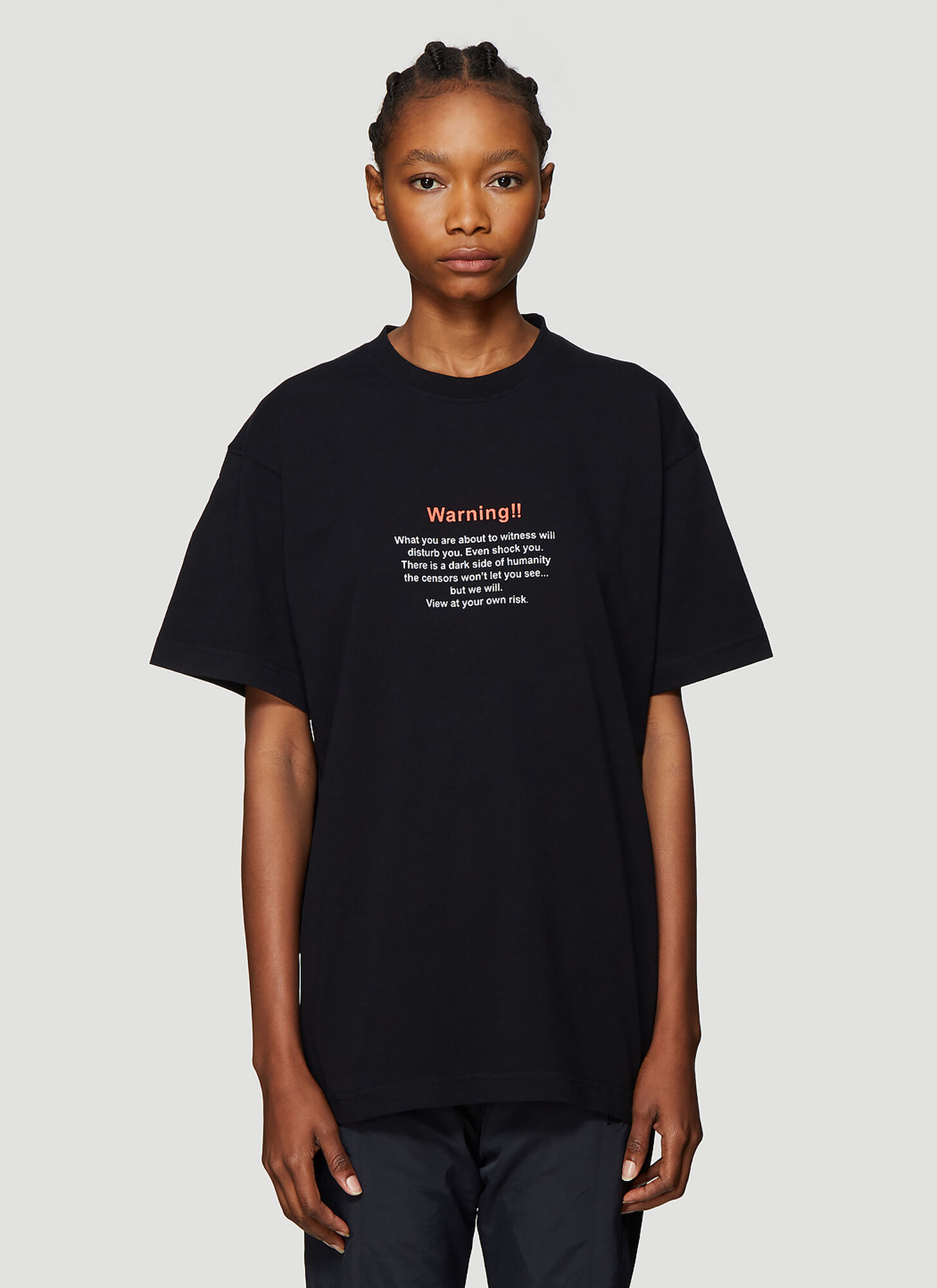 Vetements Text Print T-Shirt in Black