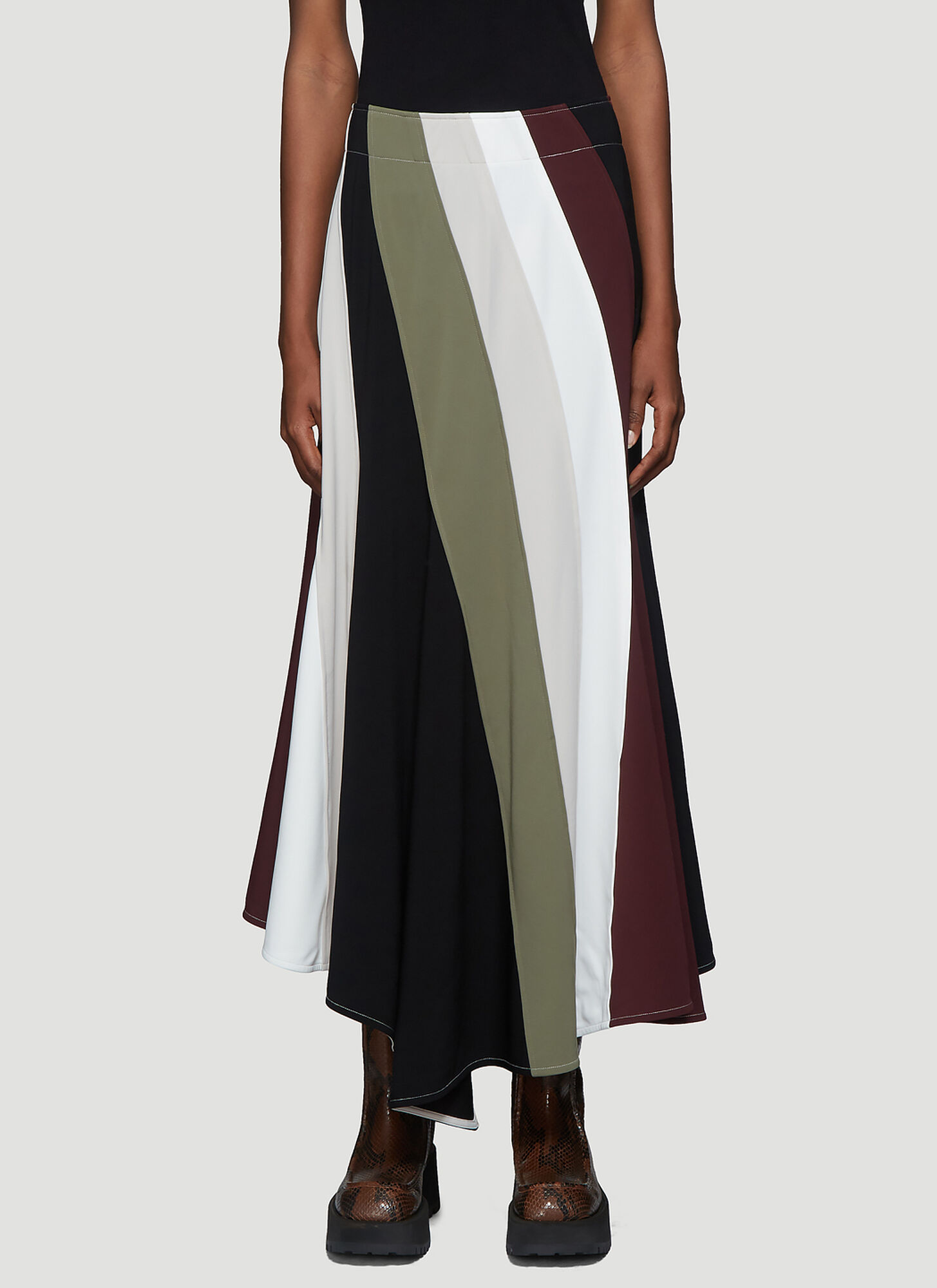 JW Anderson Contrast Panel Flared Skirt in Purple