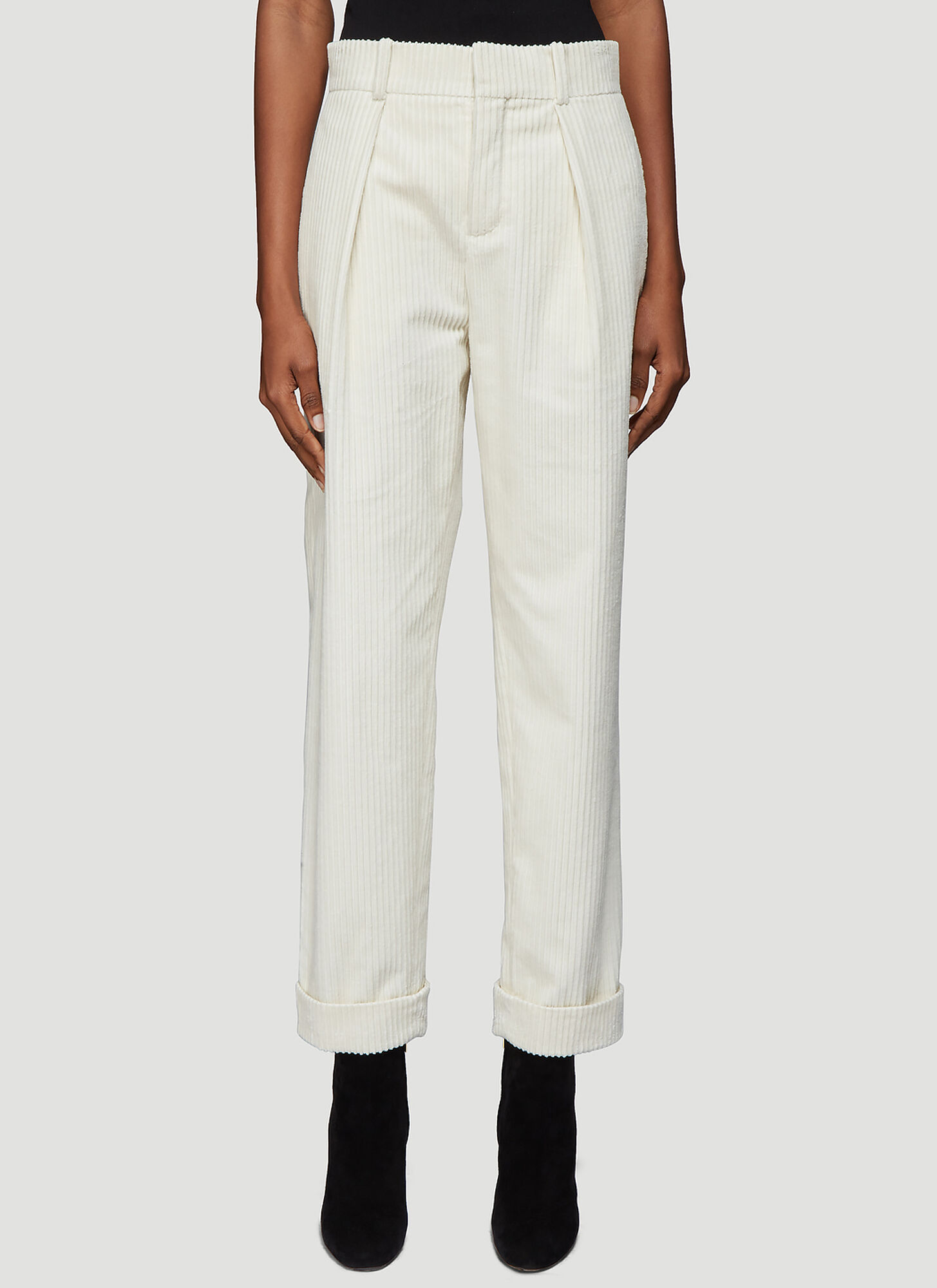 Saint Laurent Corduroy Pants in White
