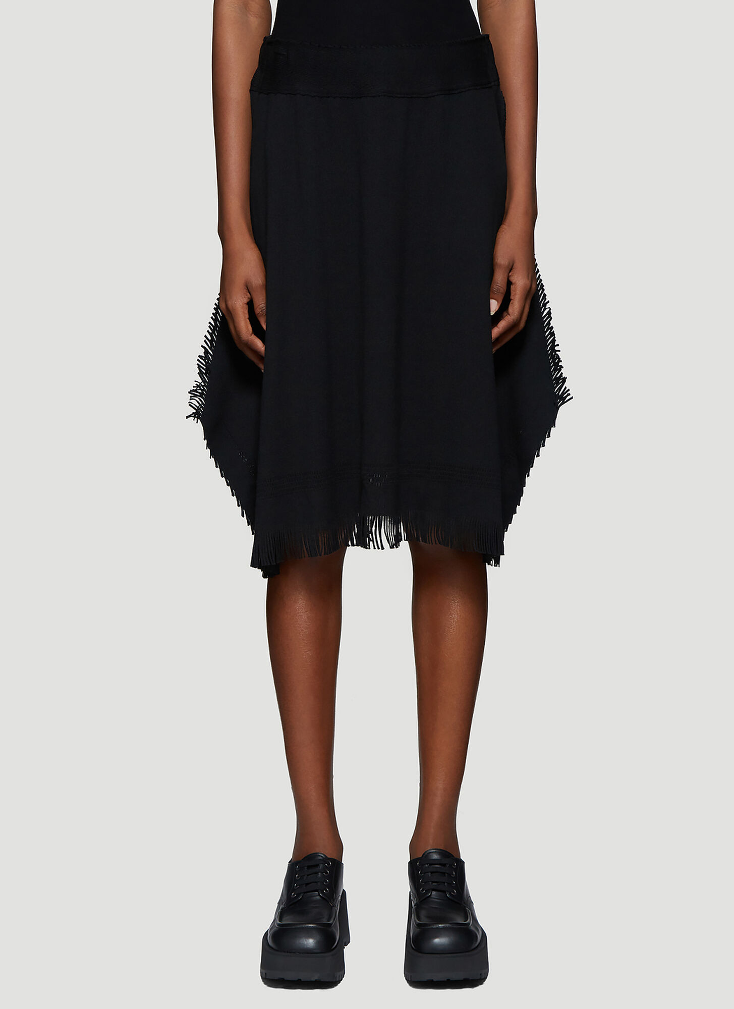 Issey Miyake Fringed-Trim Knitted Skirt in Black