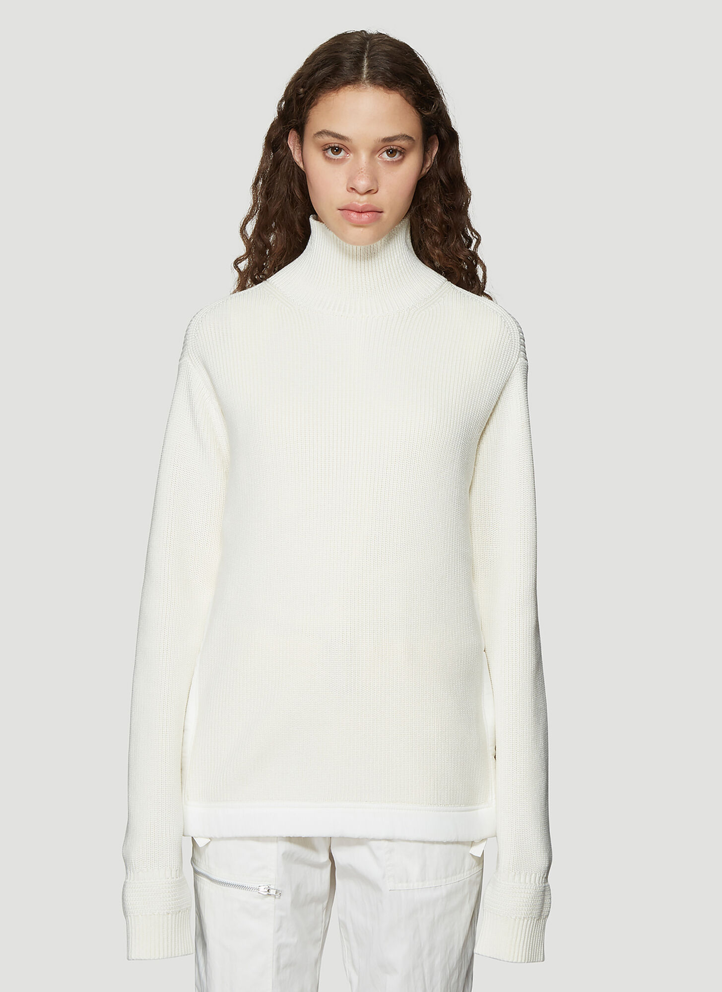 Helmut Lang Military Style Ribbed Knit Mock Neck Sweater in White