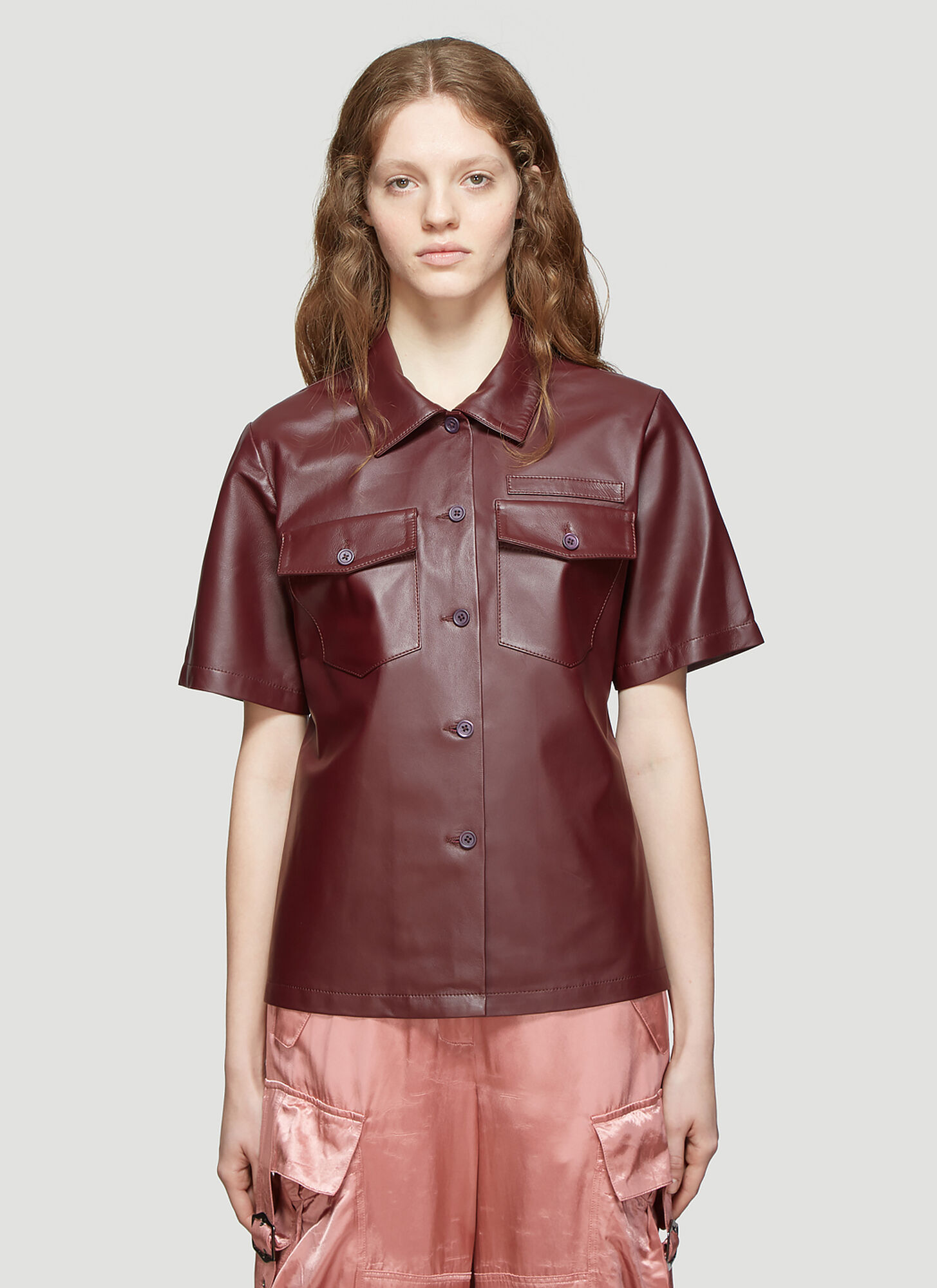 Sies Marjan Nico Leather Pocket Button Shirt in Burgundy
