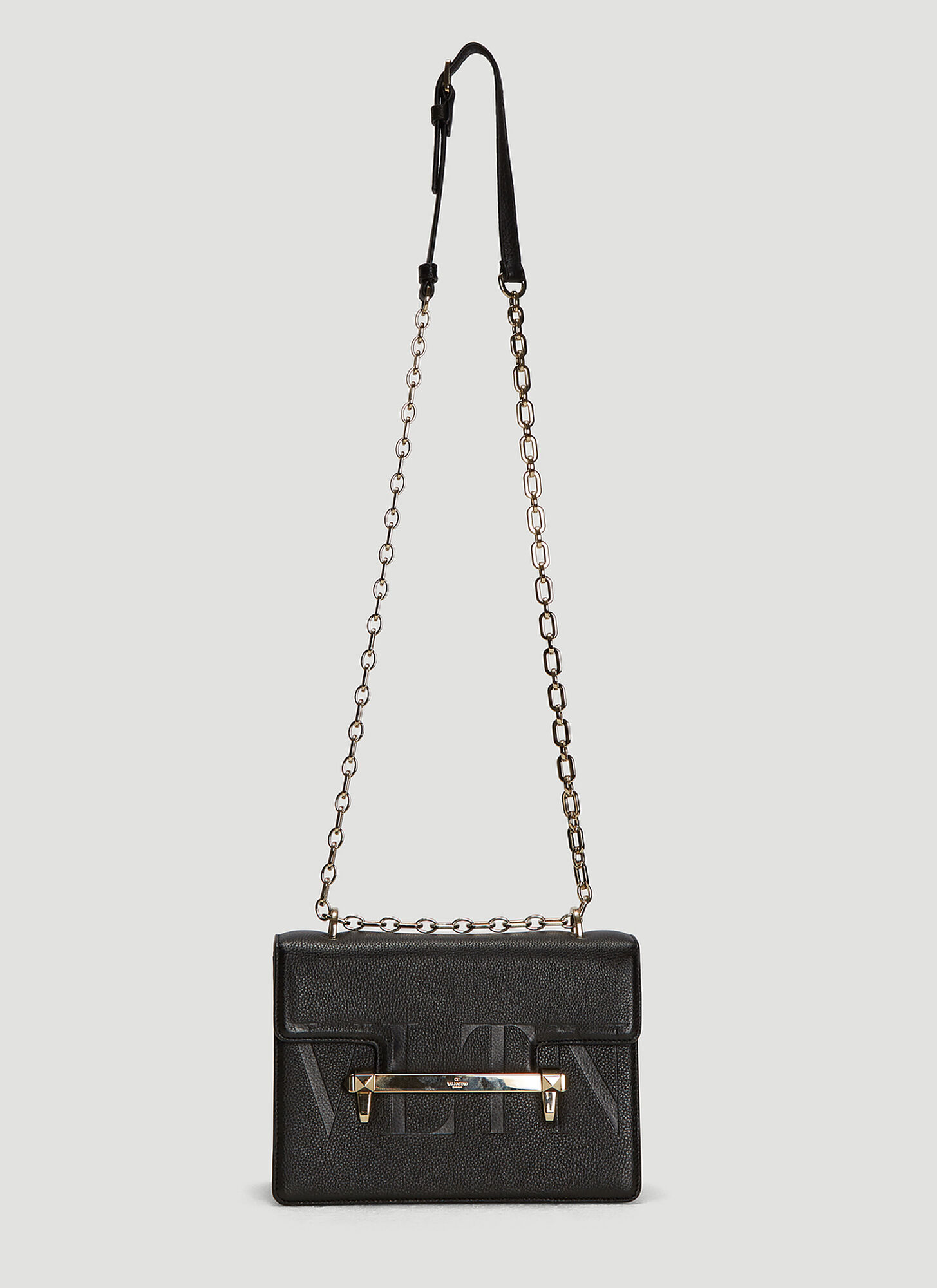 Valentino Medium VLTN Uptown Shoulder Bag in Black