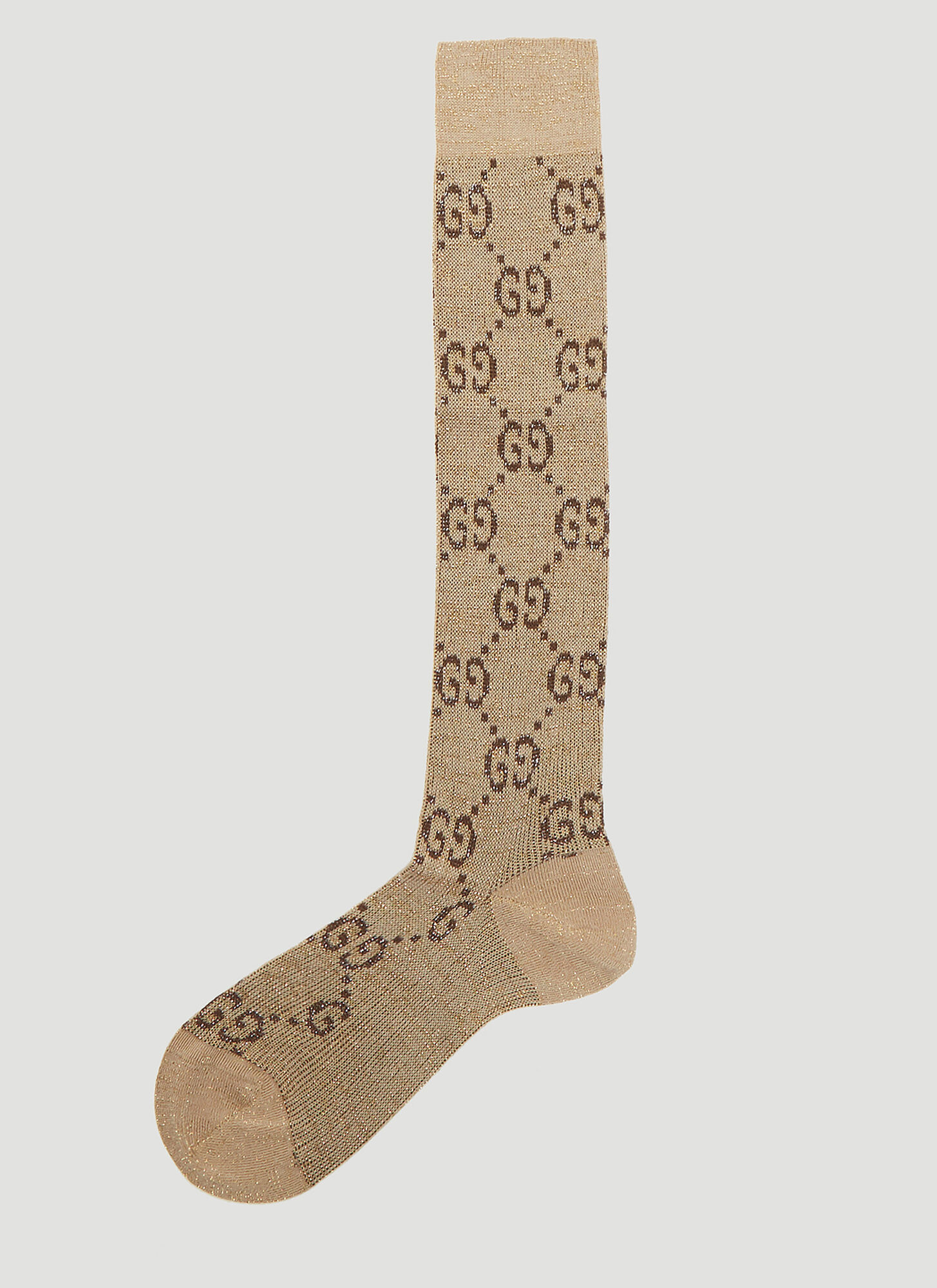 Gucci Metallic Interlocking G Motif Calf Socks in Beige
