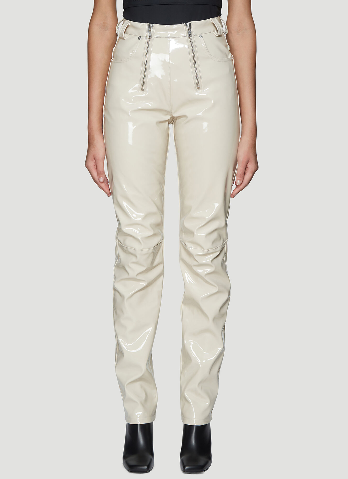 GmbH High Waist Vinyl Pants in Beige