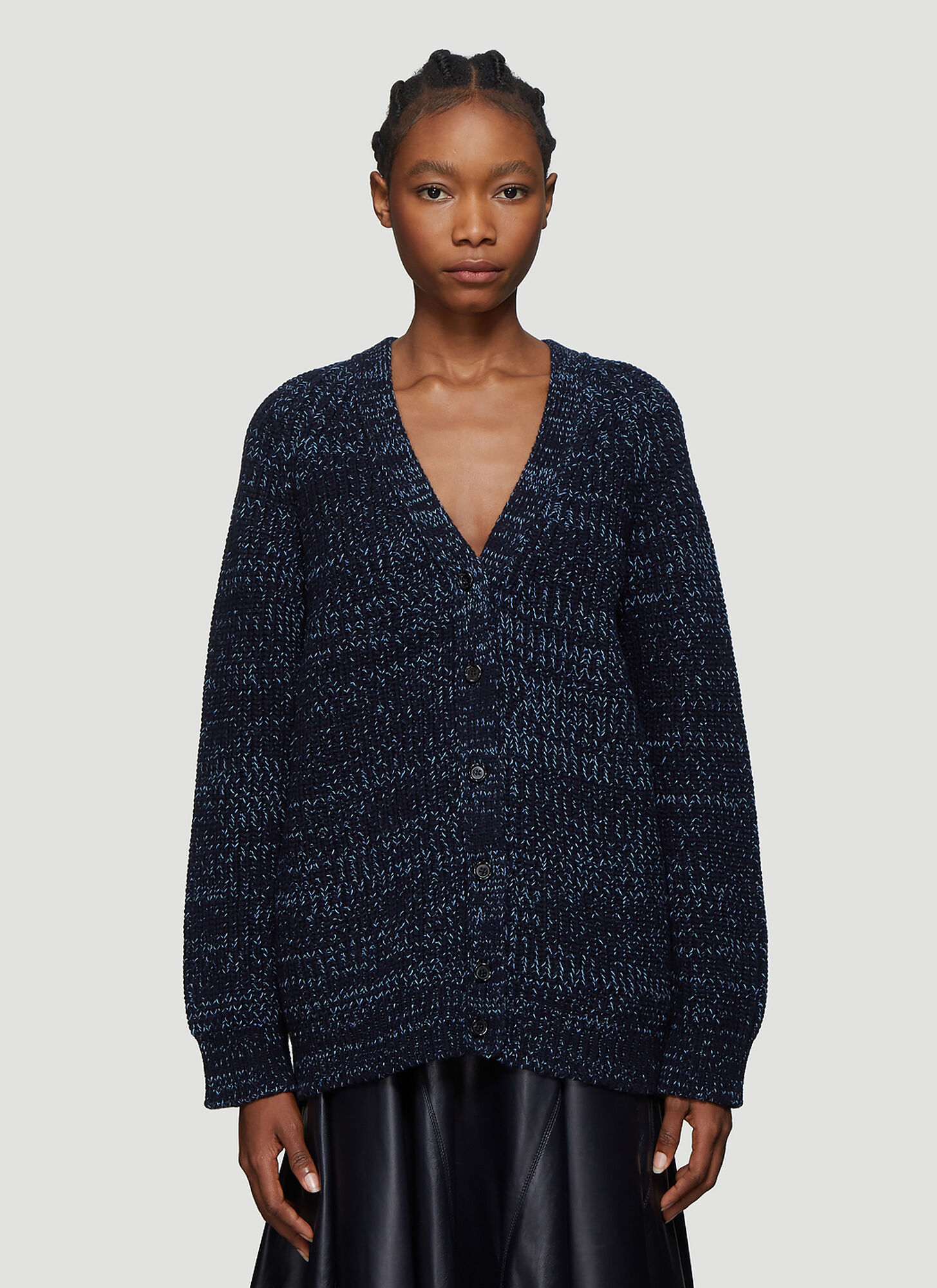 Marni Two-tone Knit Cardigan in Navy