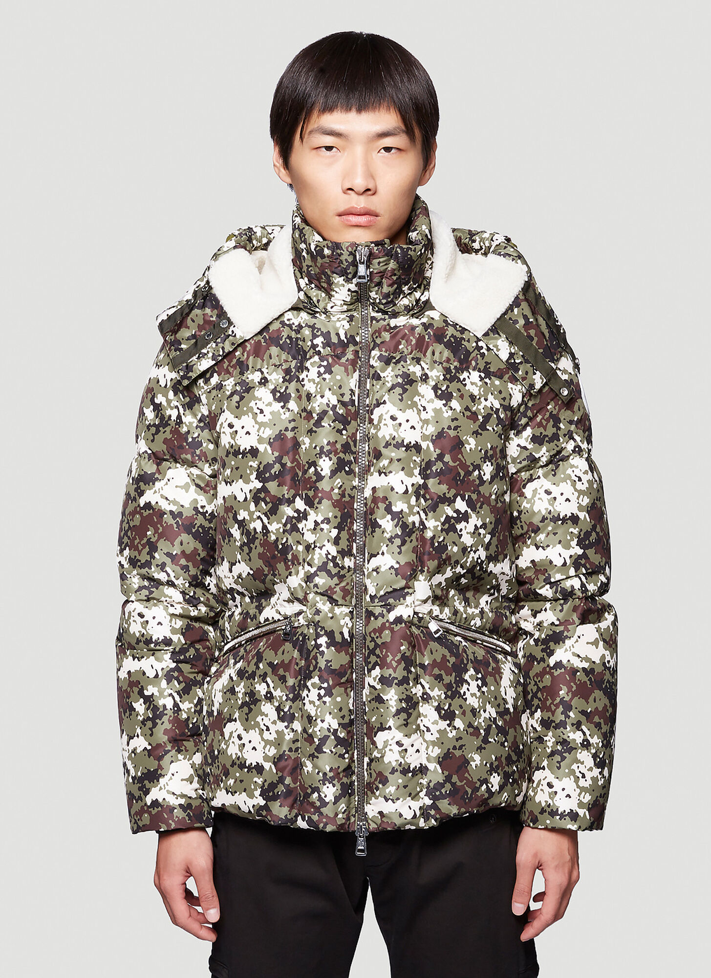 Moncler Camouflage Down Coat in Green