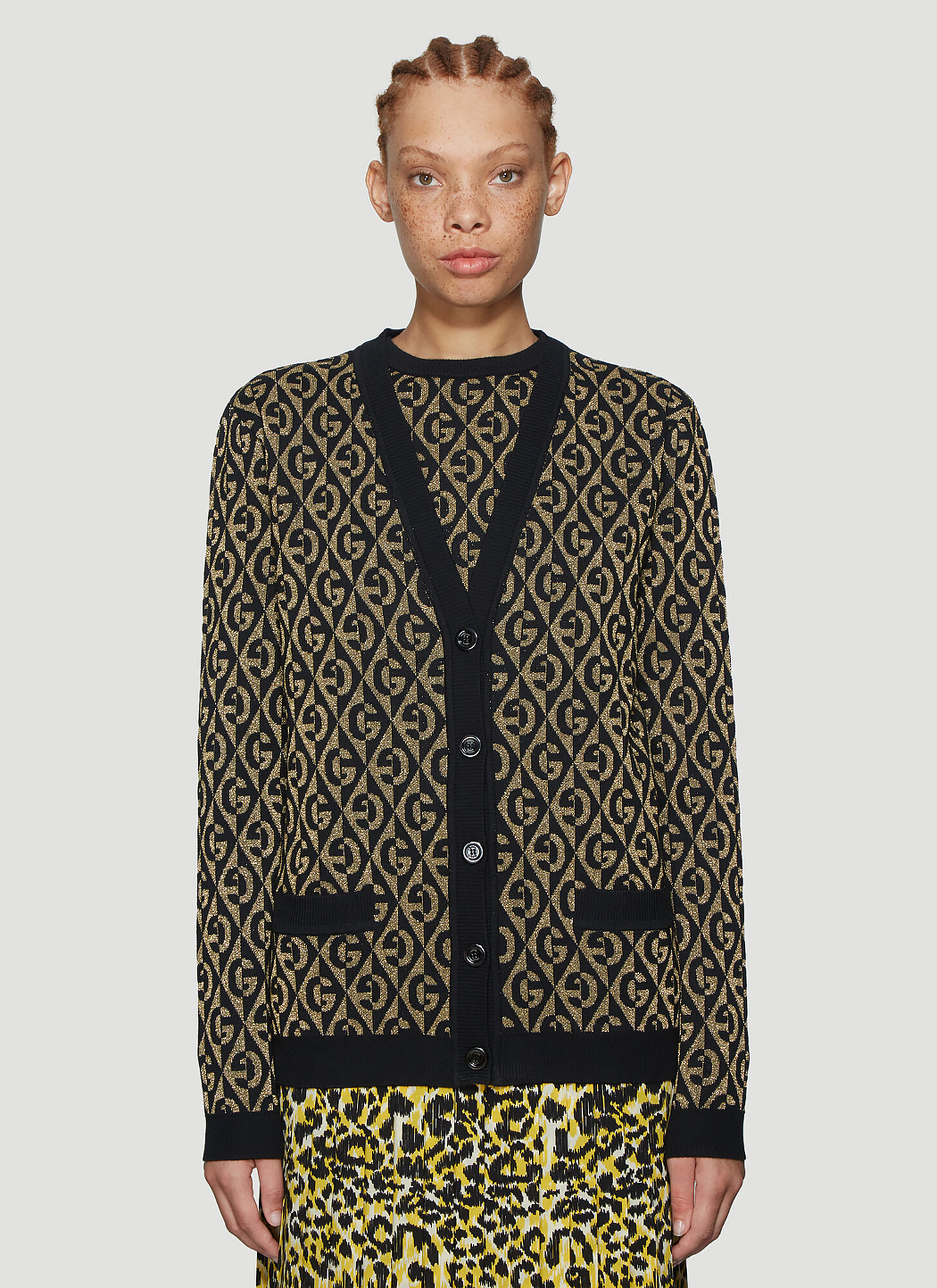 Gucci Metallic Knit Cardigan in Black