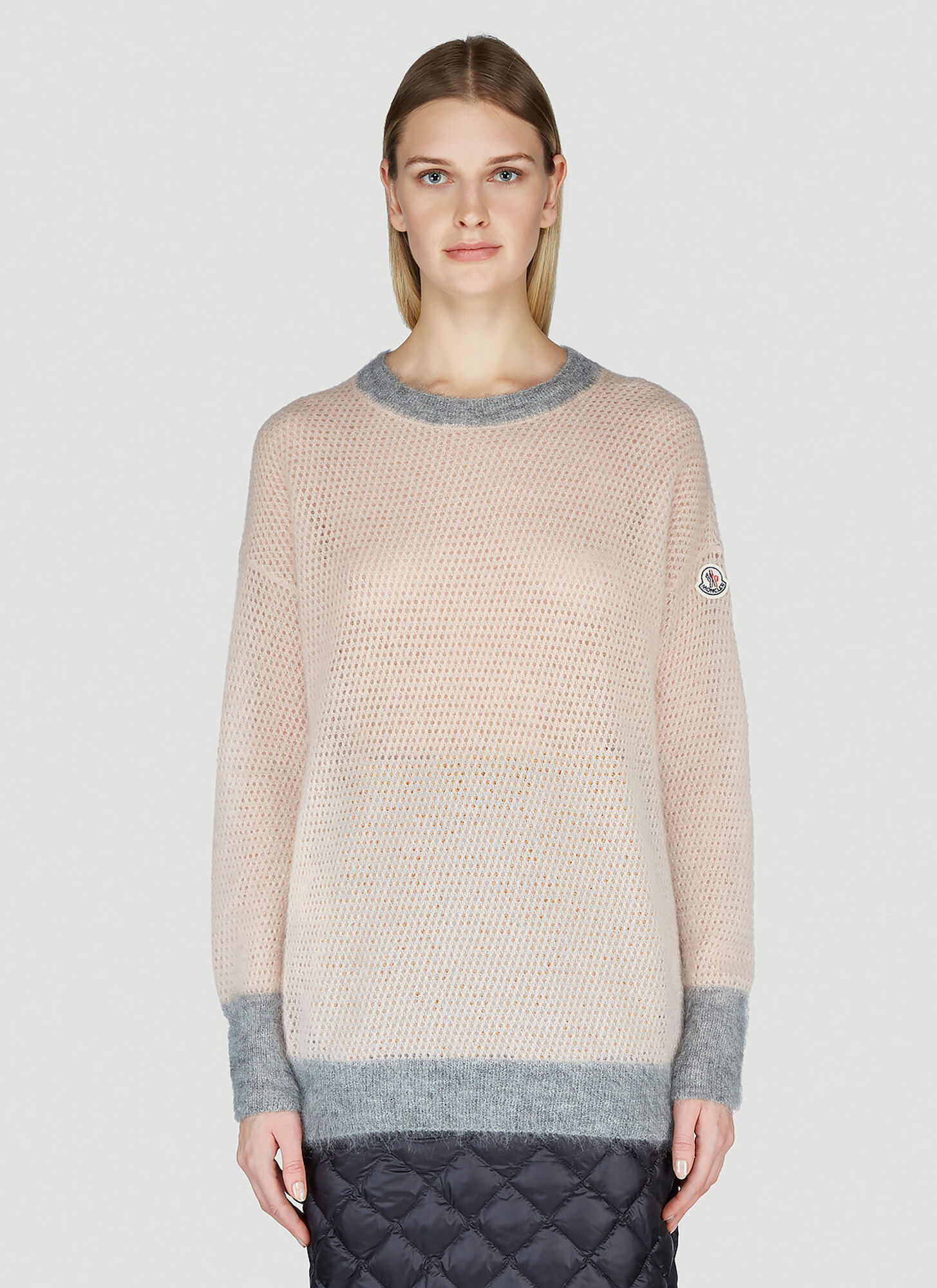 Moncler Open-Knit Sweater in Pink