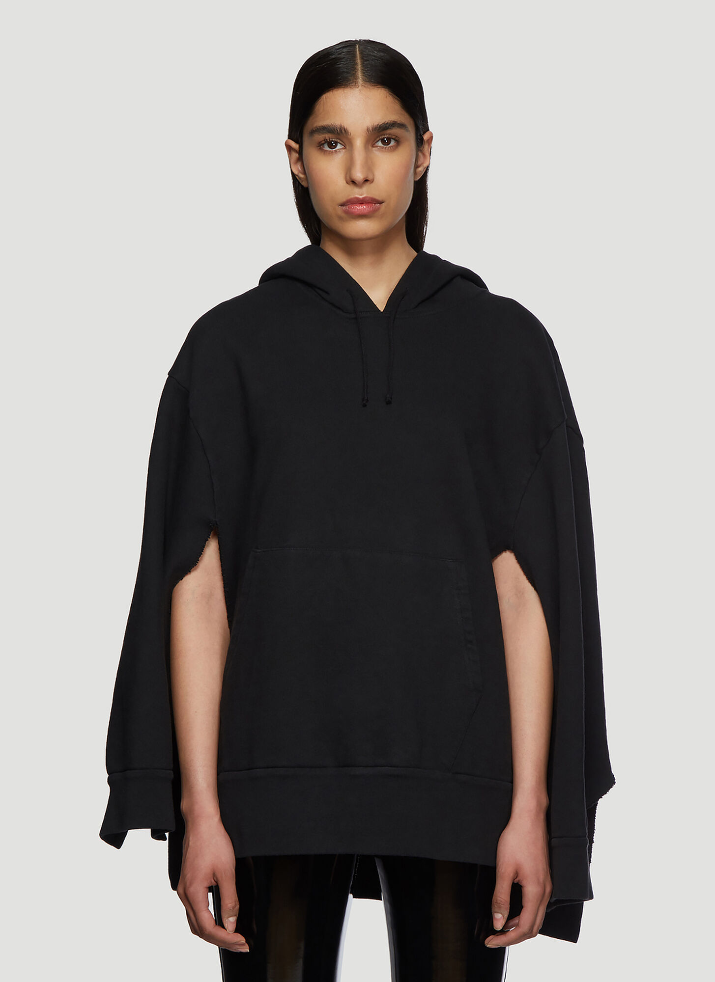 Maison Margiela Hooded Cape Sweatshirt in Black