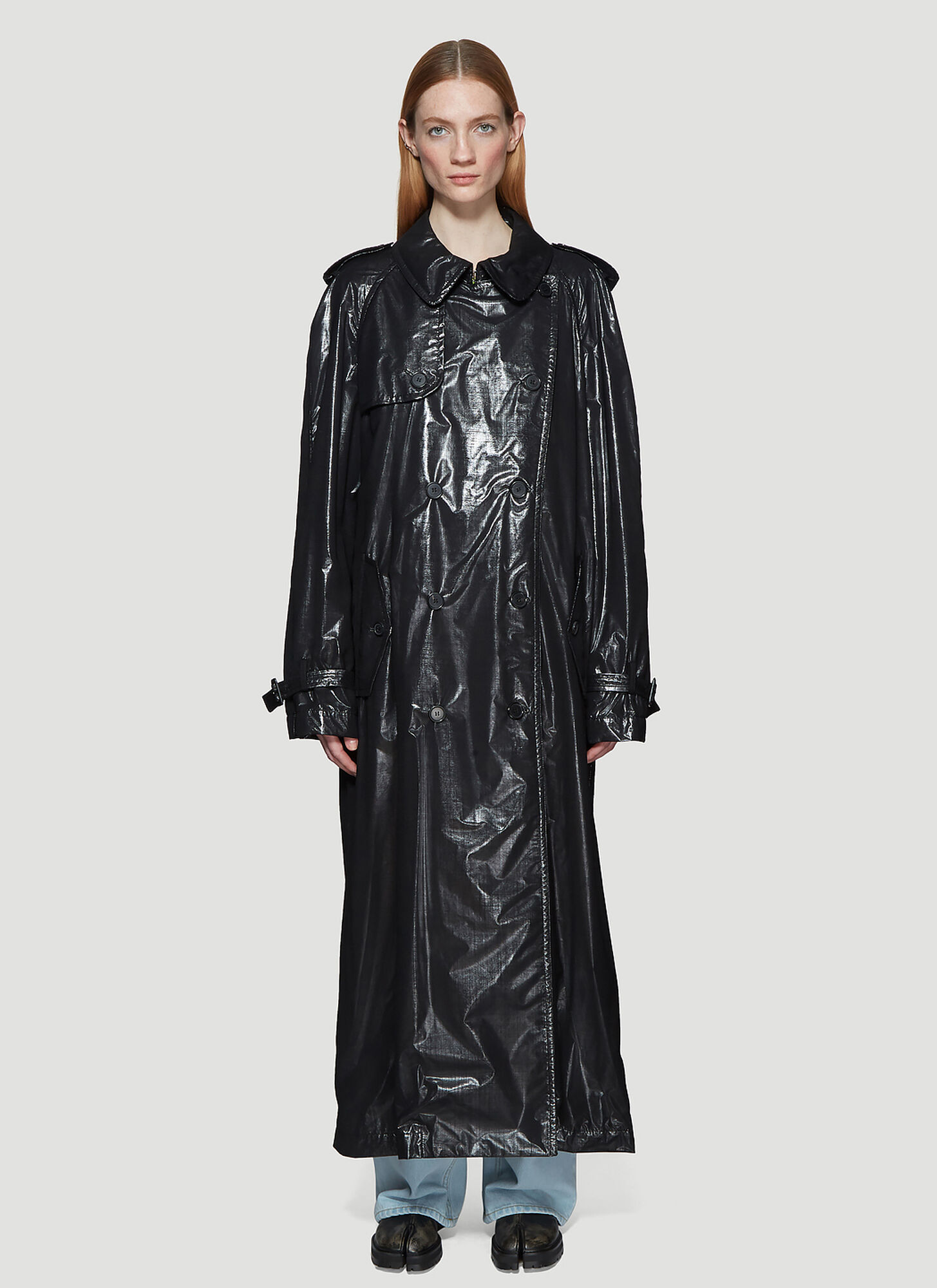 Maison Margiela Sheer Layer Metallic Trench Coat in Black