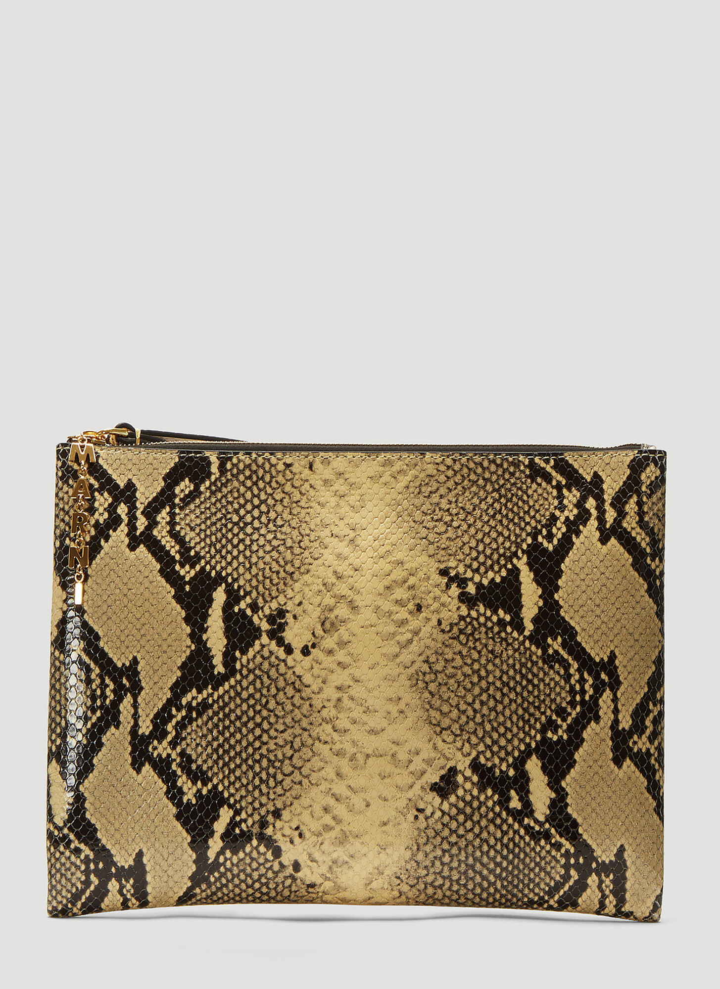Marni Snake Print Clutch Bag in Beige
