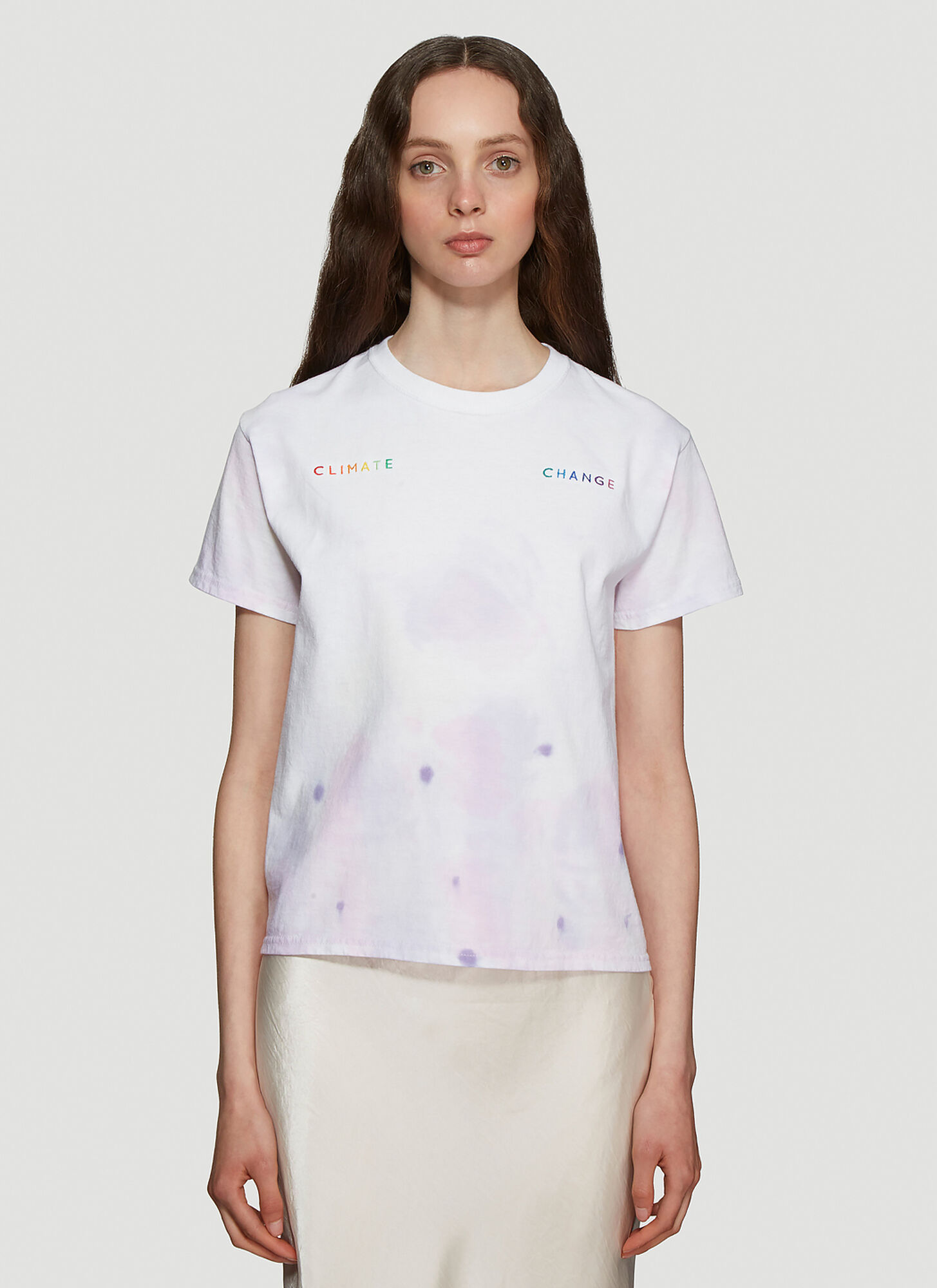 Photo of Collina Strada Climate Change Tie-Dye T-Shirt in White - Collina Strada T-Shirts
