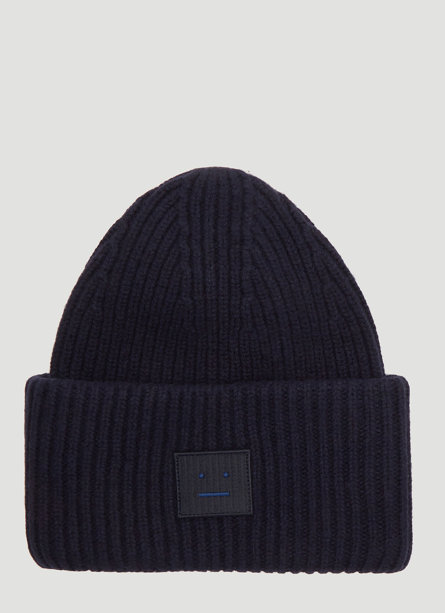 Acne Studios Pansy L Face Knit Hat in Navy