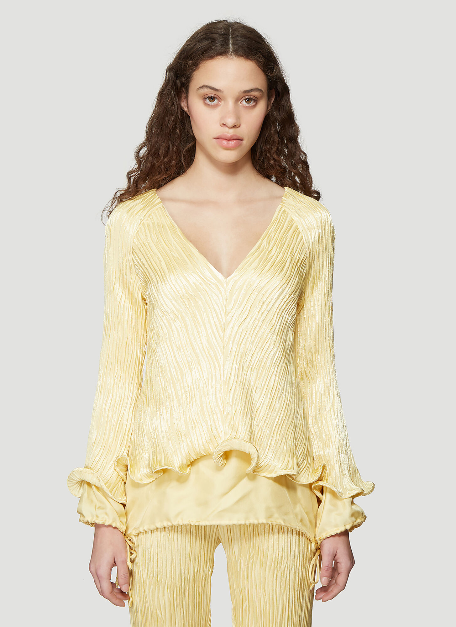 Photo of Sies Marjan Freida Crinkled Satin Linen V-Neck Ruffle Top in Yellow - Sies Marjan Tops