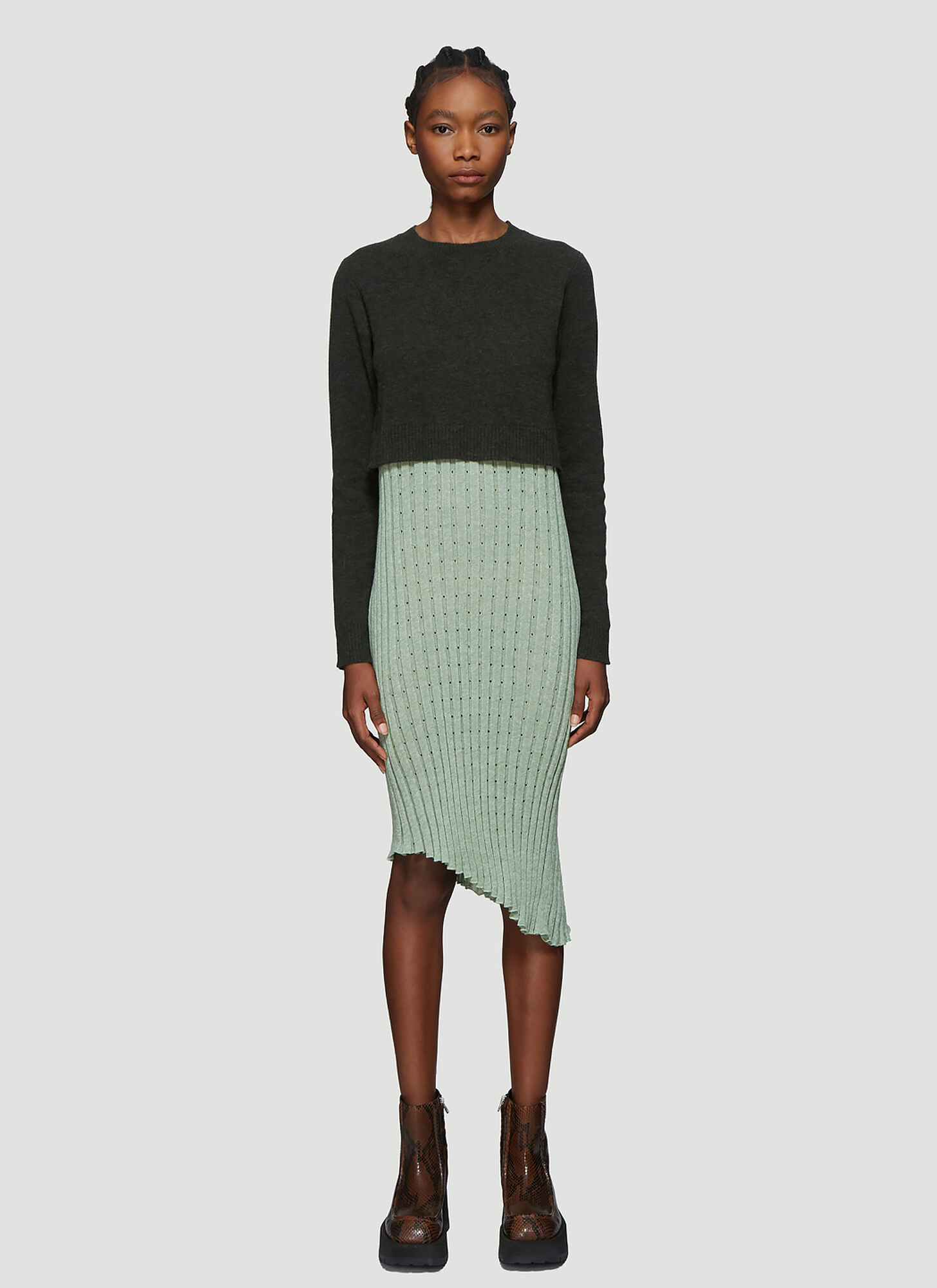 JW Anderson Contrast Panel Pleated Dress in Green