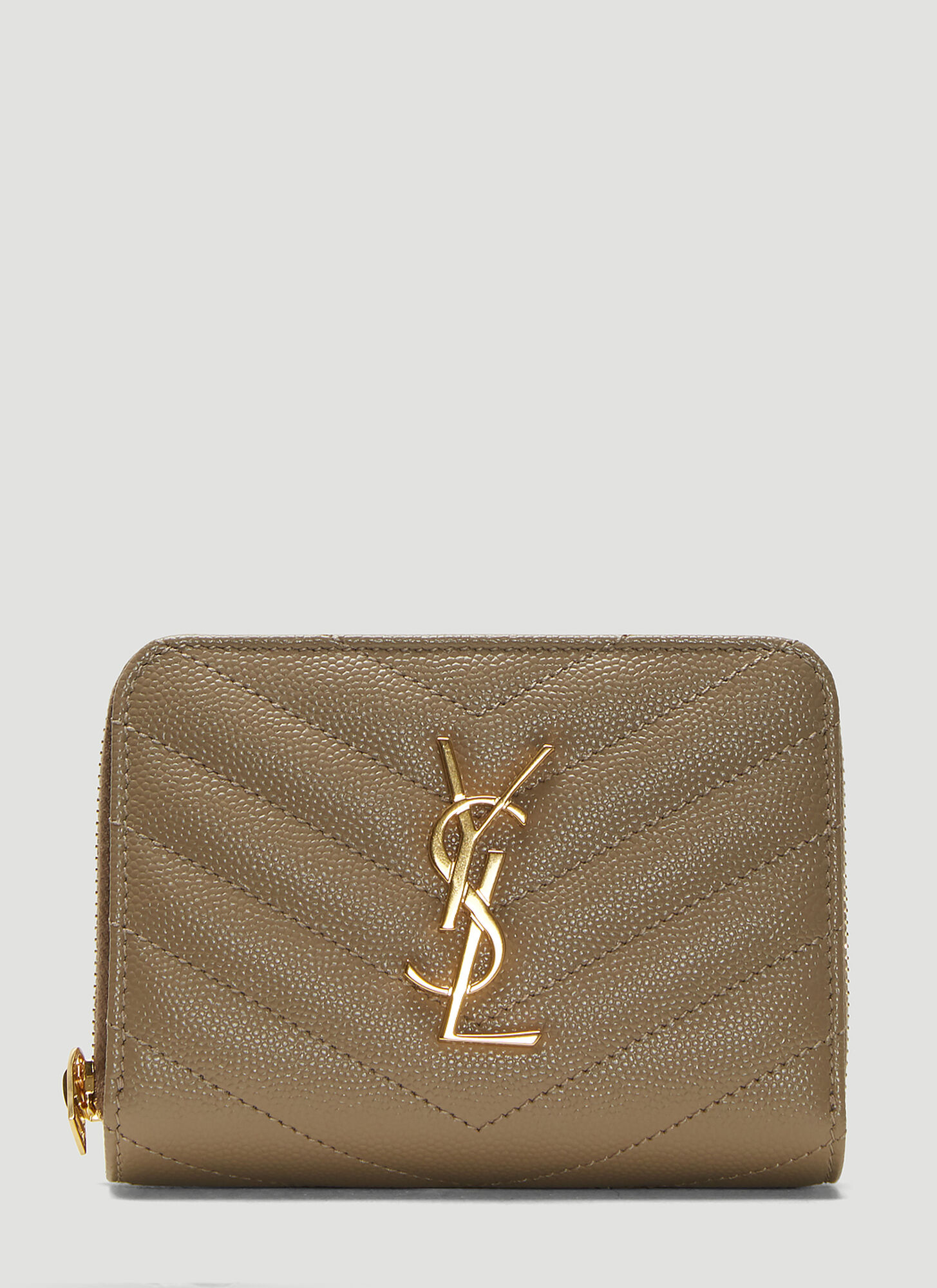 Saint Laurent Monogram Compact Zip-Around Wallet in Beige