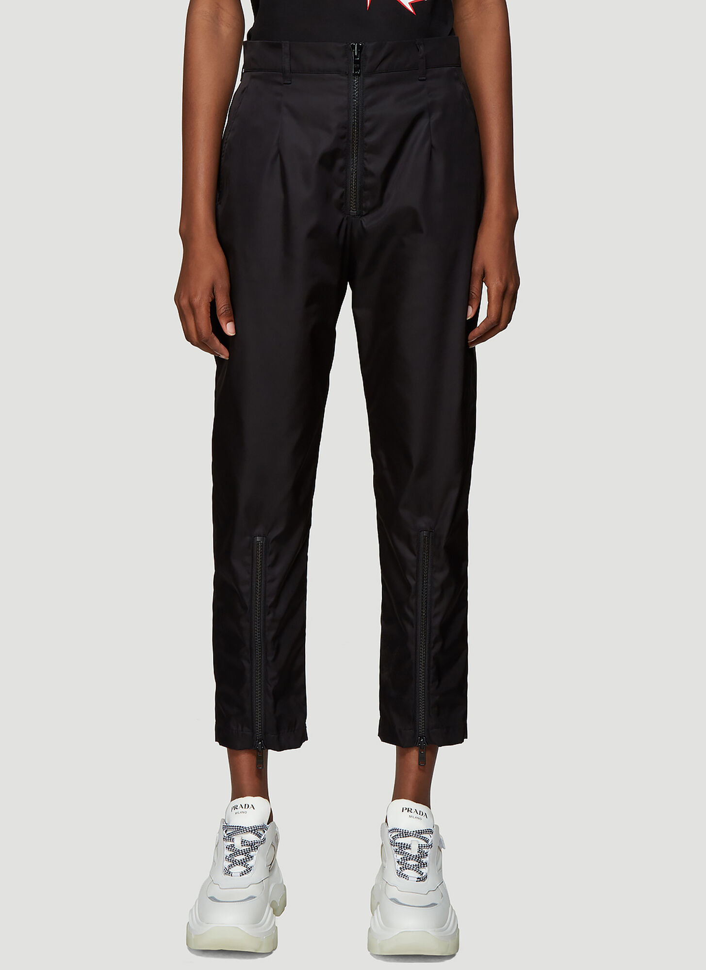 Prada Nylon Gabardine Pants in Black