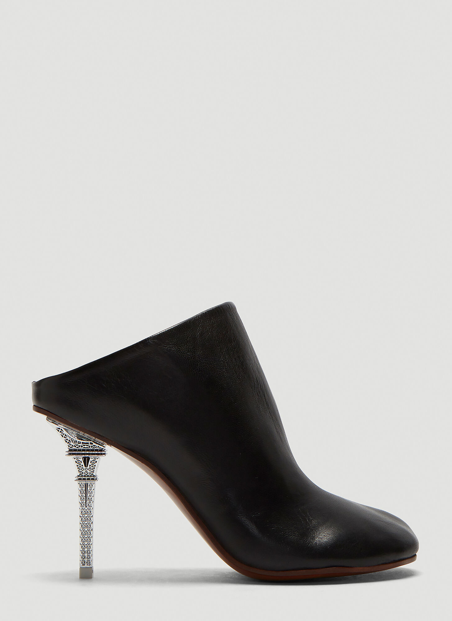 Vetements Eiffel Tower Heel Leather Mules in Black