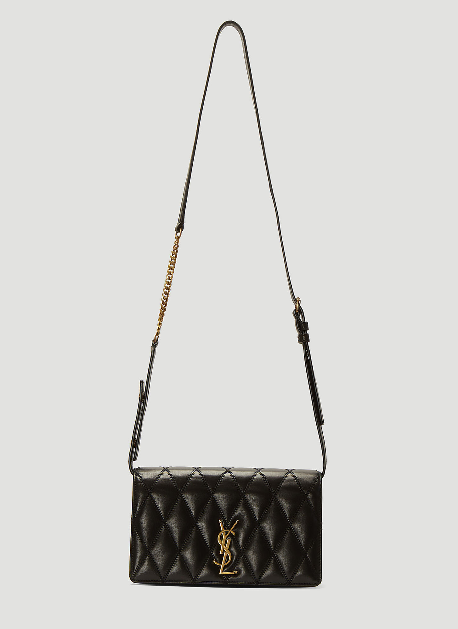 Saint Laurent Angie Leather Chain Bag in Black