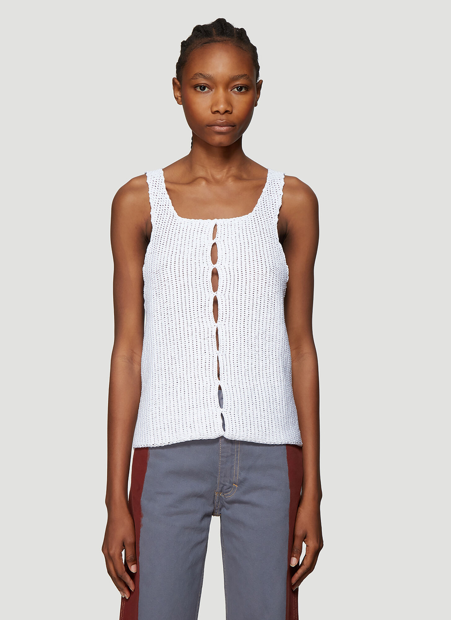 Eckhaus Latta Open Knit Tank Top in White