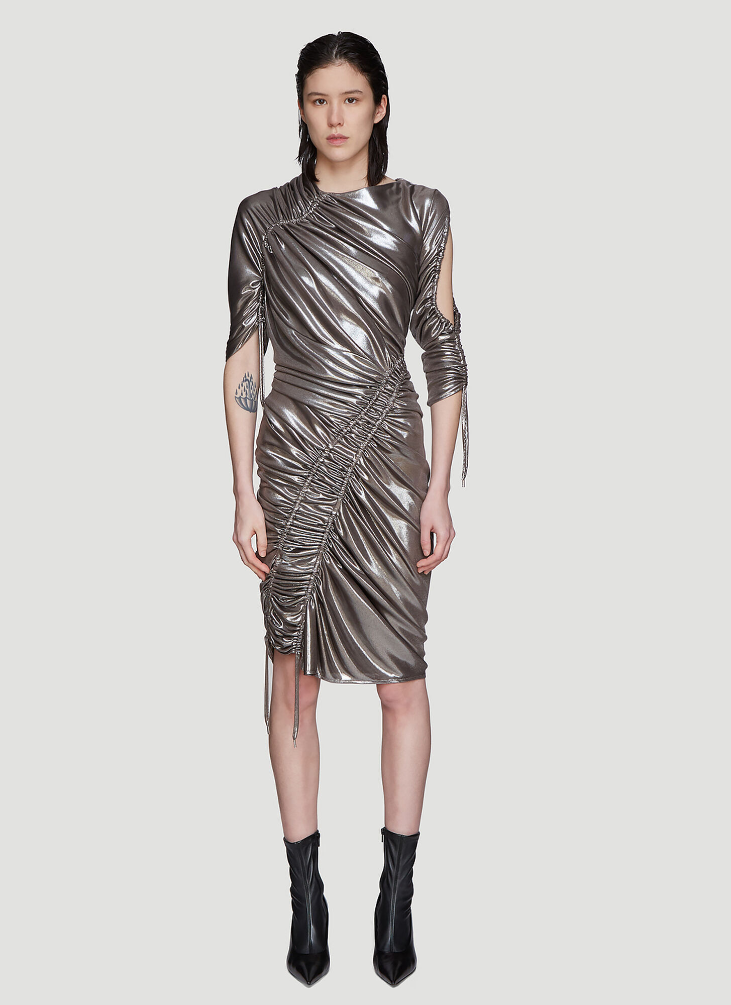 Atlein Mercury Ruched Dress in Silver