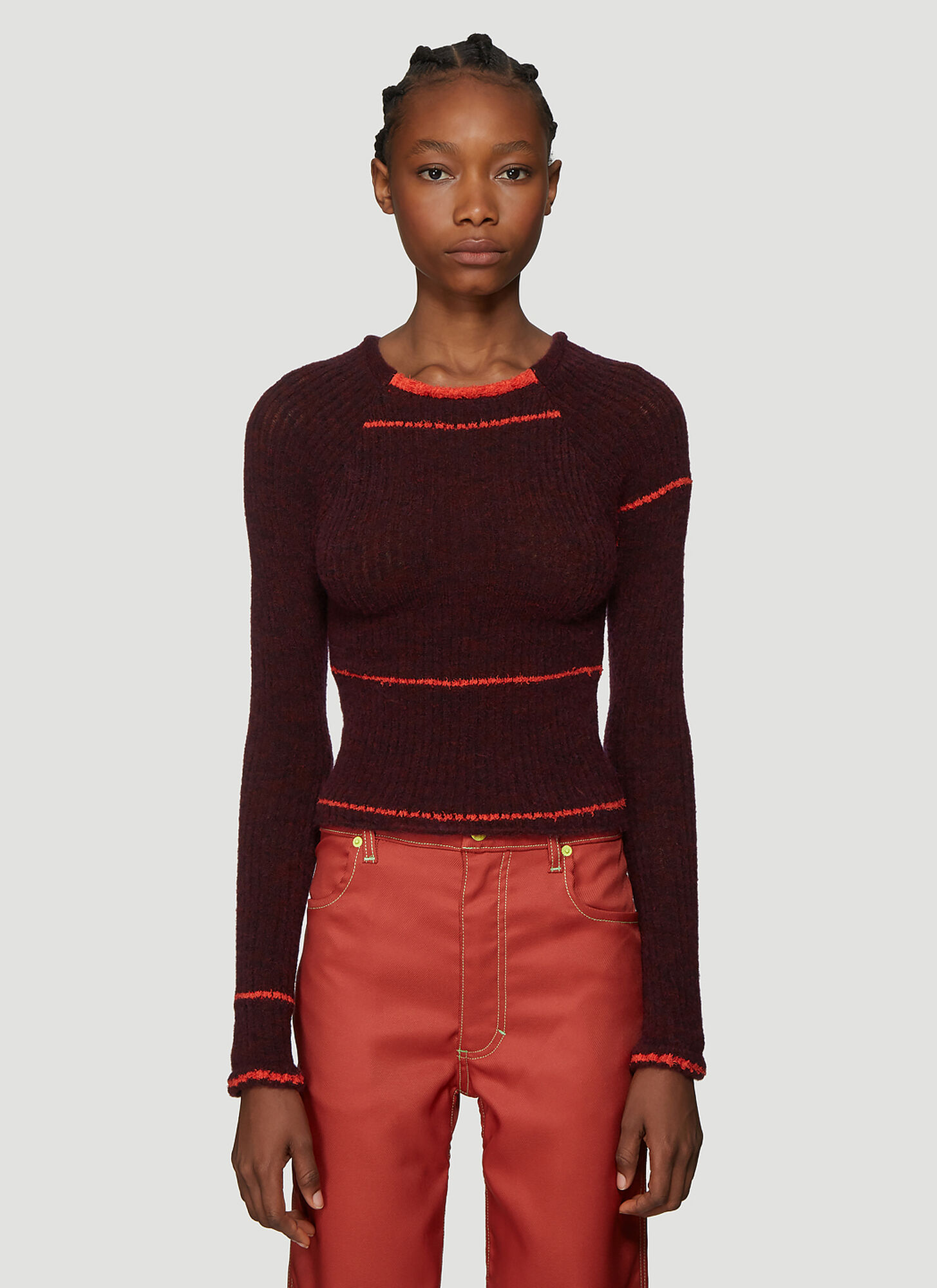 Eckhaus Latta Heat Wave Knit Sweater in Burgundy