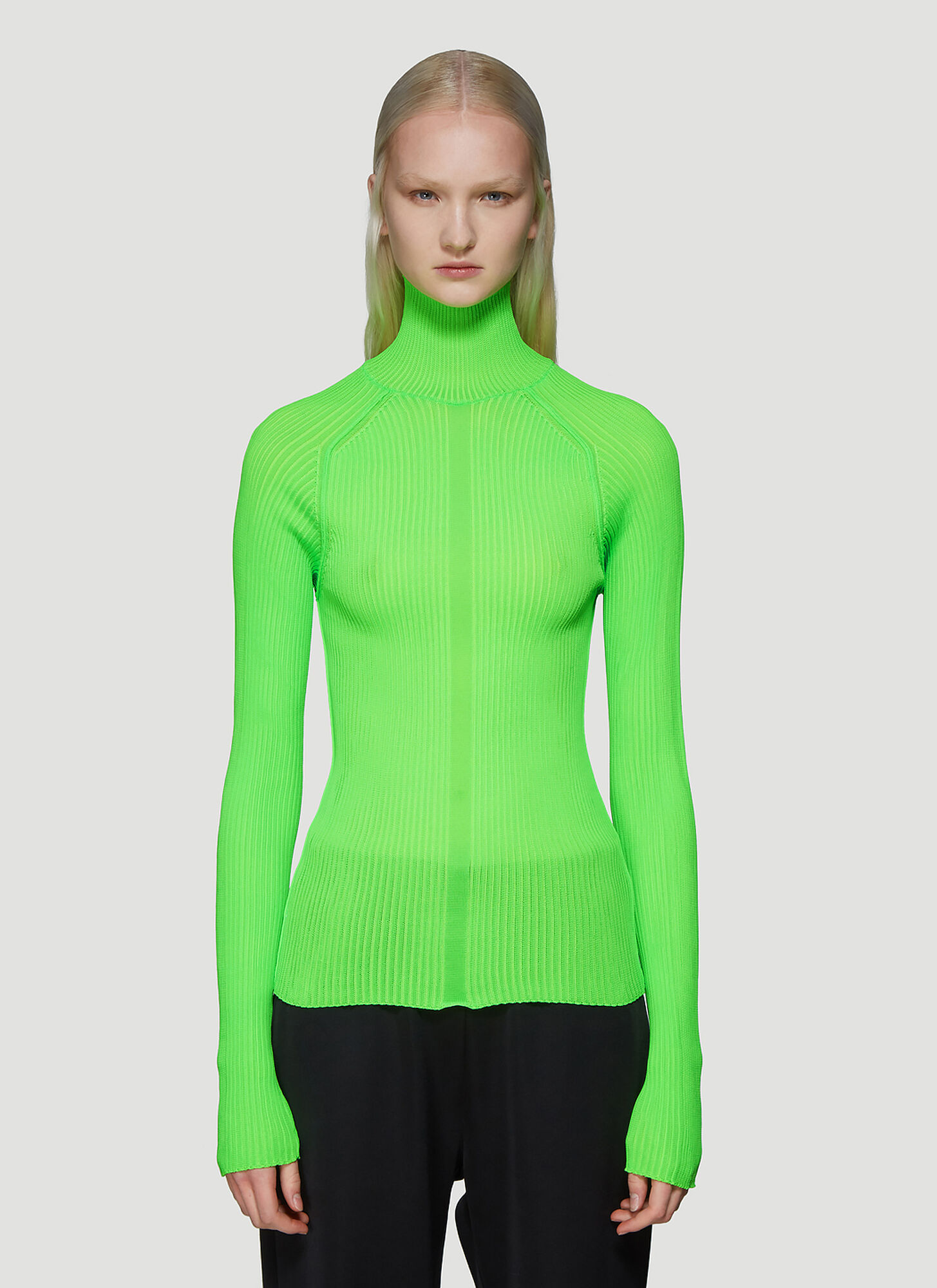 Acne Studios Ribbed Polo Neck Long Sleeve Top in Green