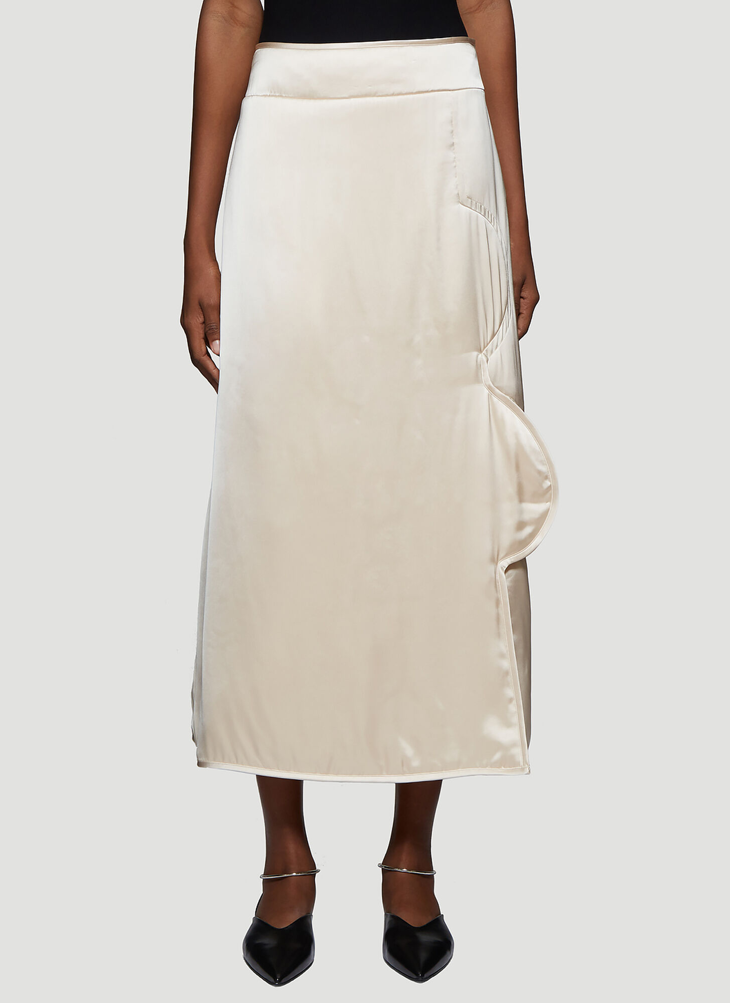 Jil Sander Quilted Satin Skirt in Ivory
