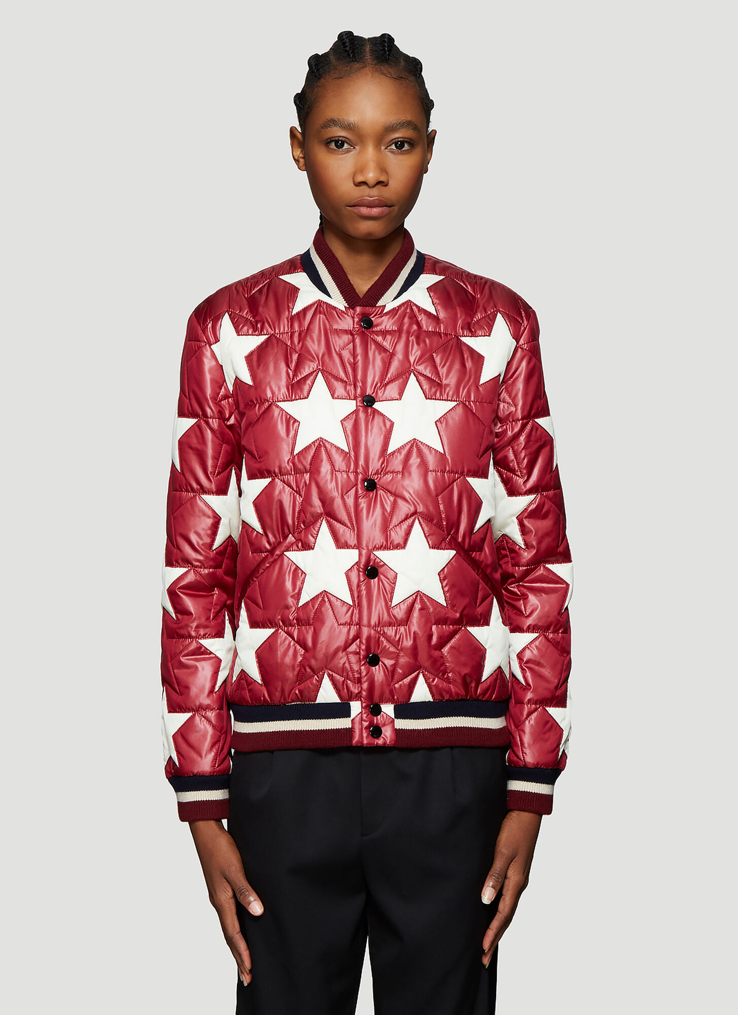 Saint Laurent Star Motif Bomber Jacket in Red