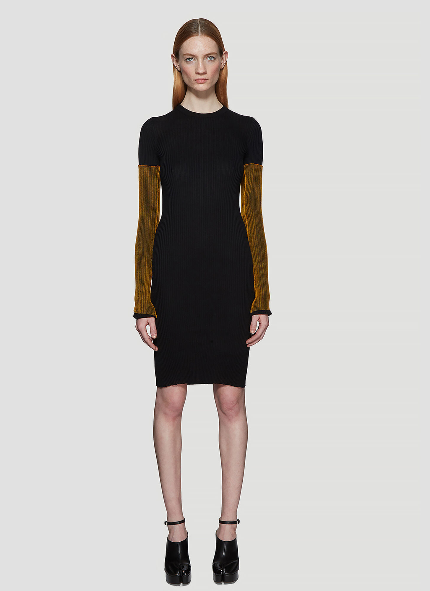 Maison Margiela Ribbed Knit Orange Sleeve Dress in Black