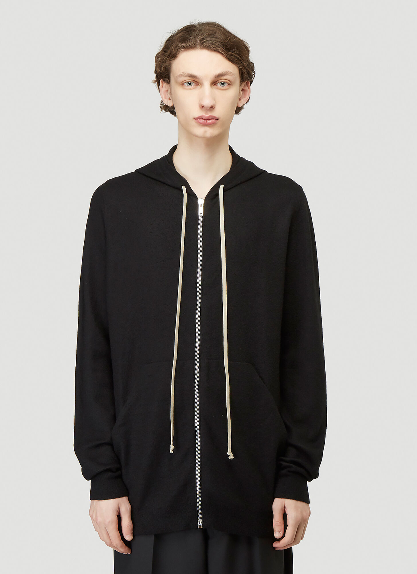 Rick Owens Zip-Up Hooded Sweater in Black size L