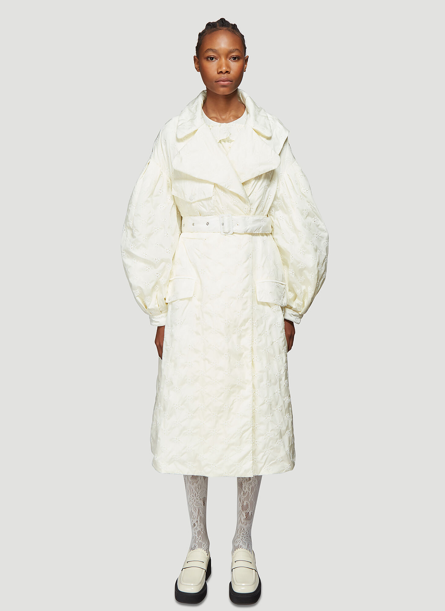 4 Moncler Simone Rocha Dinah Broderie Anglaise Coat in White
