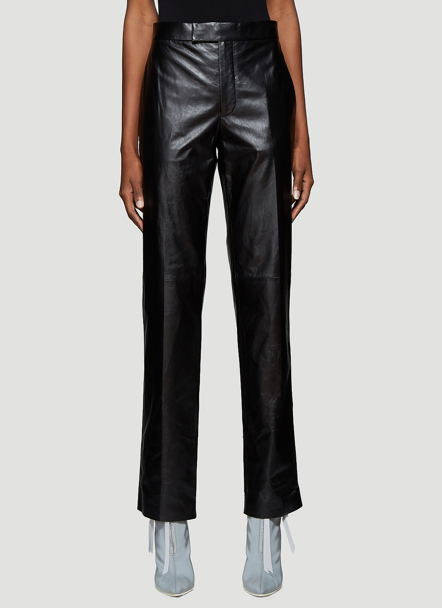Helmut Lang Leather Straight Leg Pants in Black