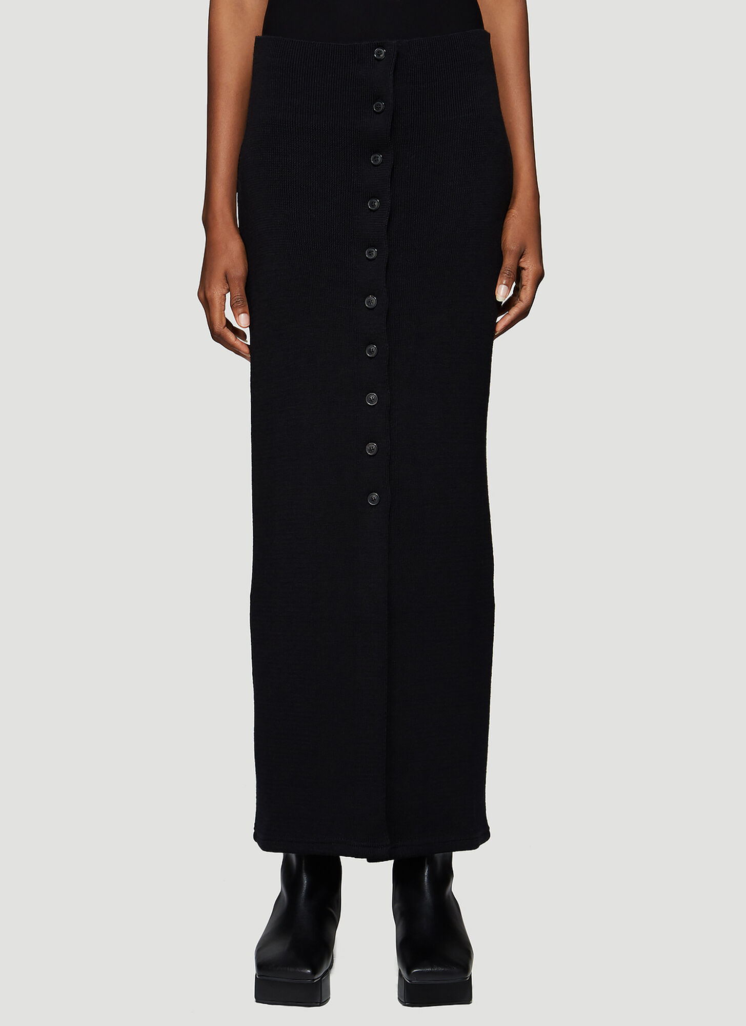 Our Legacy Buttoned Knit Skirt in Black