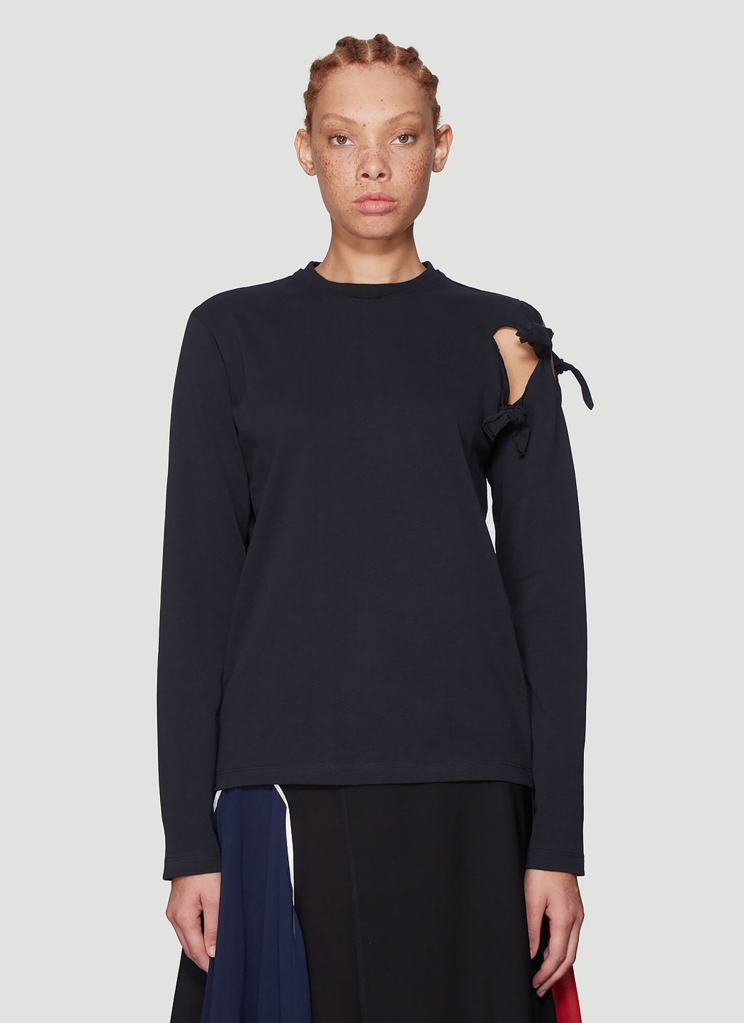 JW Anderson Knot Detail Long Sleeve T-Shirt in Black