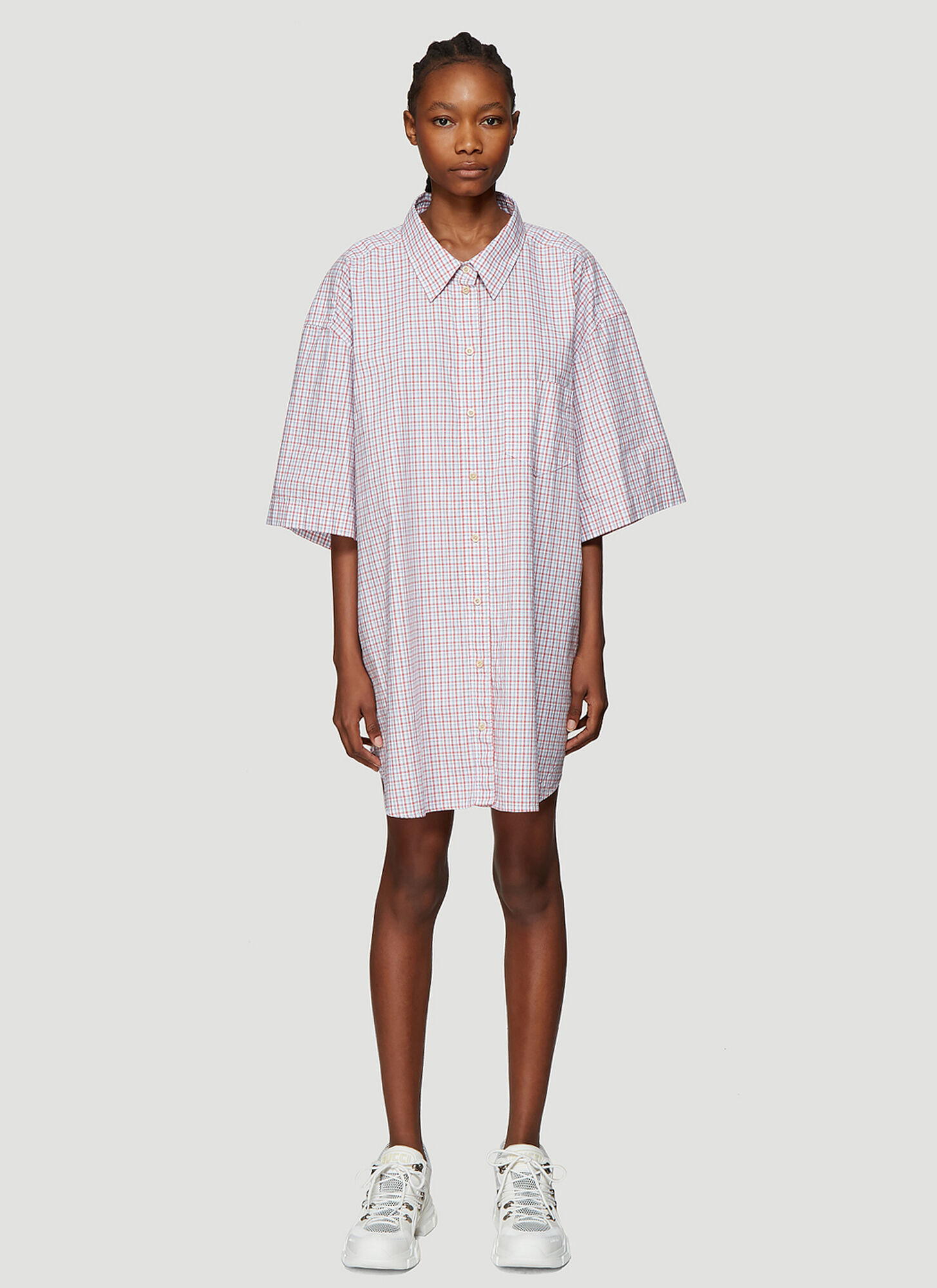 Photo of Gucci Oversized Check Shirt in Blue - Gucci Shirts