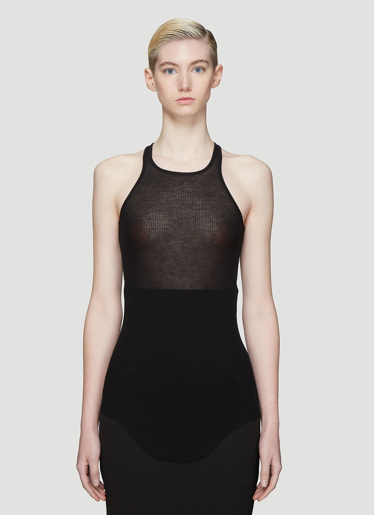 Rick Owens Basic Rib Tank Top in Black
