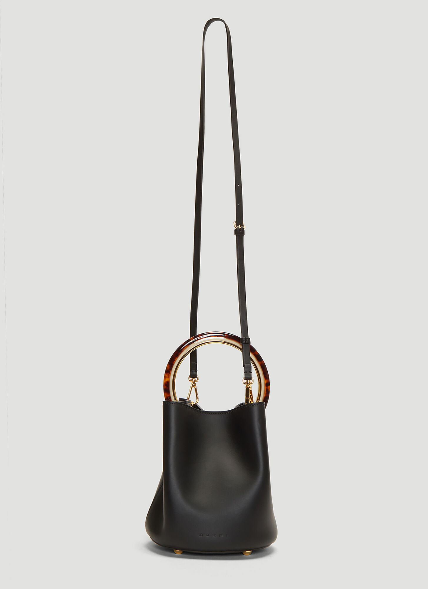 Marni Pannier Leather Bucket Bag in Black