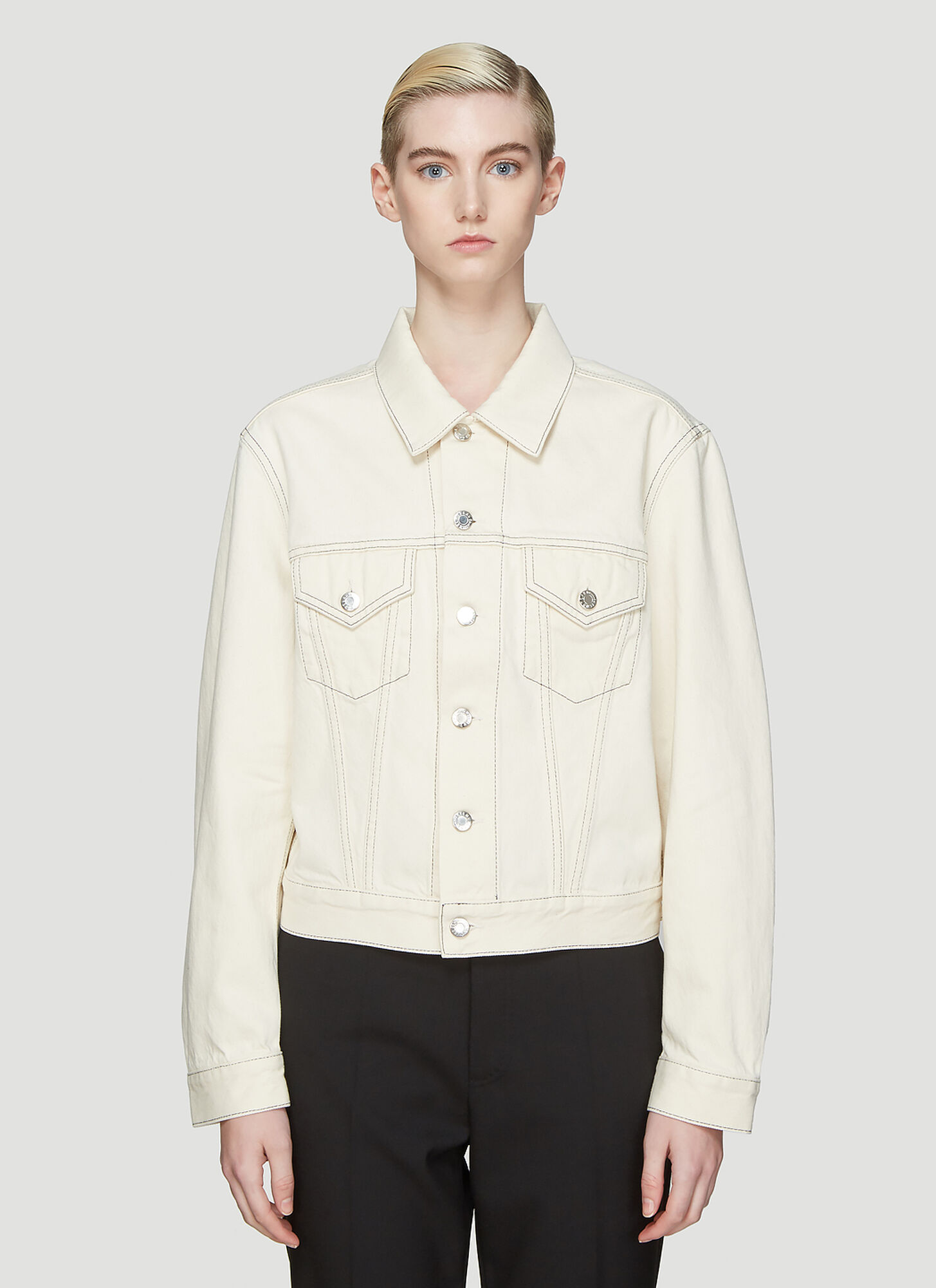 Helmut Lang Trucker Denim Jacket in Cream