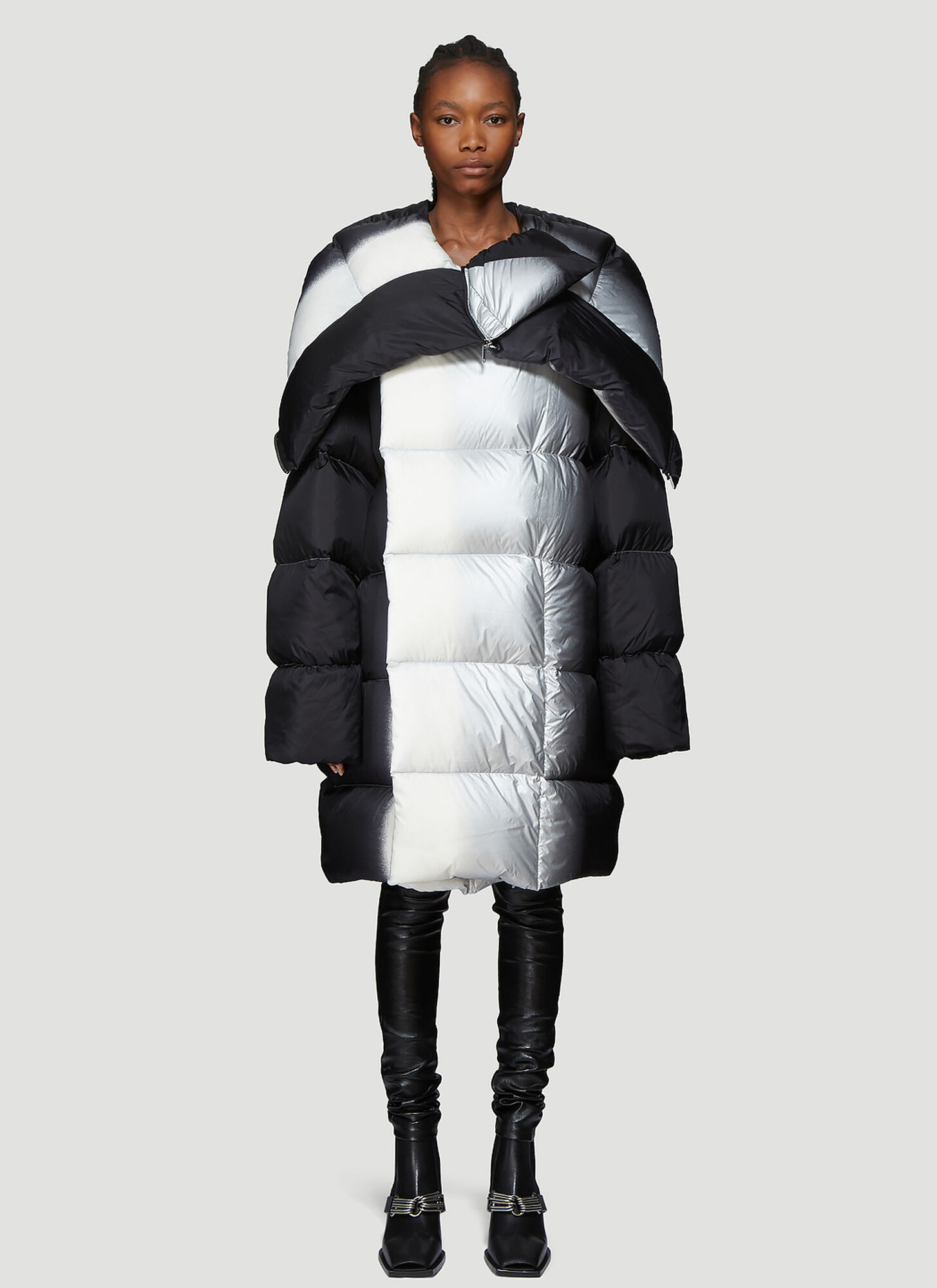 Rick Owens Spray Paint Padded Coat in Black
