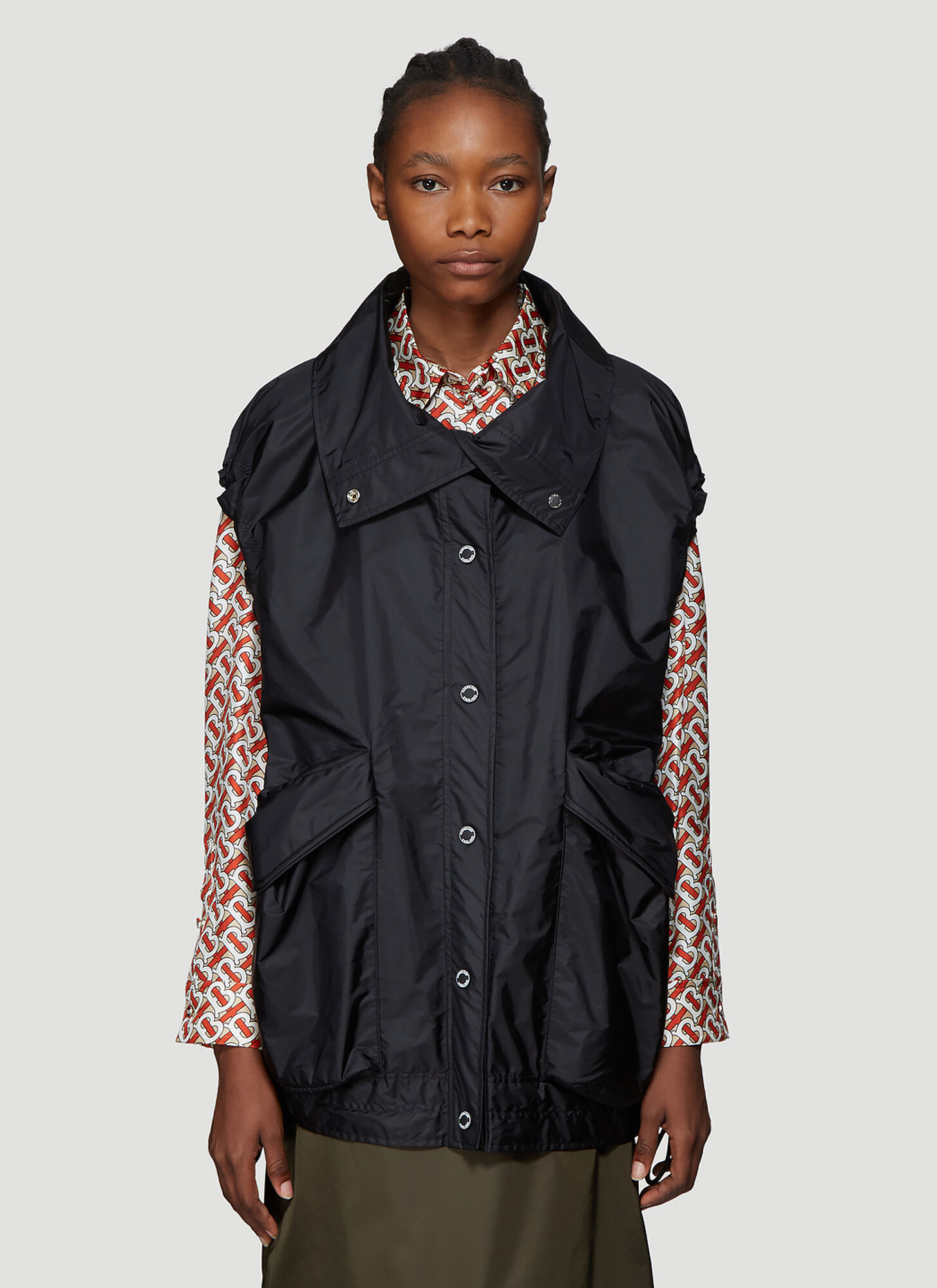 Burberry Oversized Drawstring Hem Gilet in Black