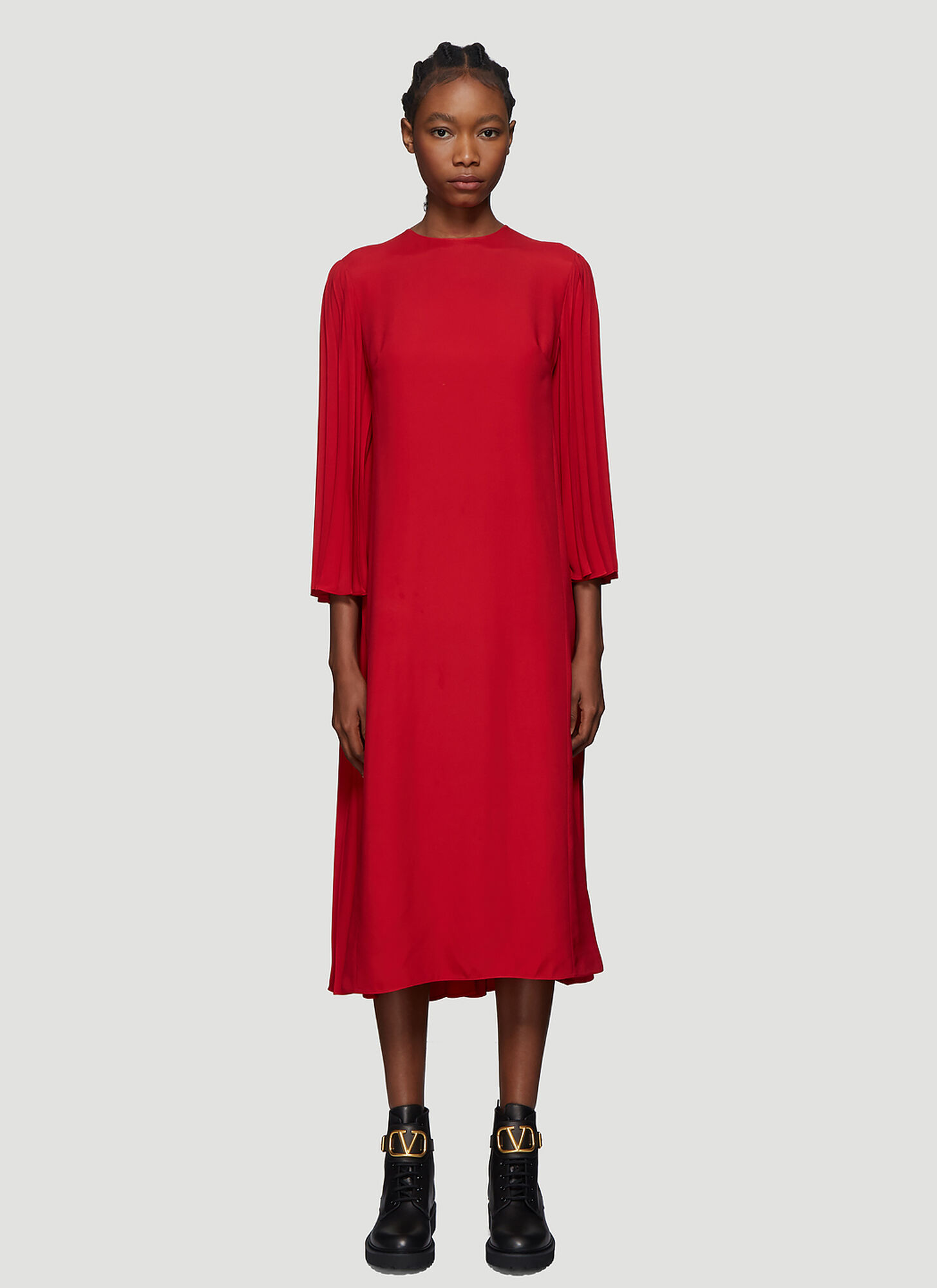 Valentino Pleated Crepe Dress in Red