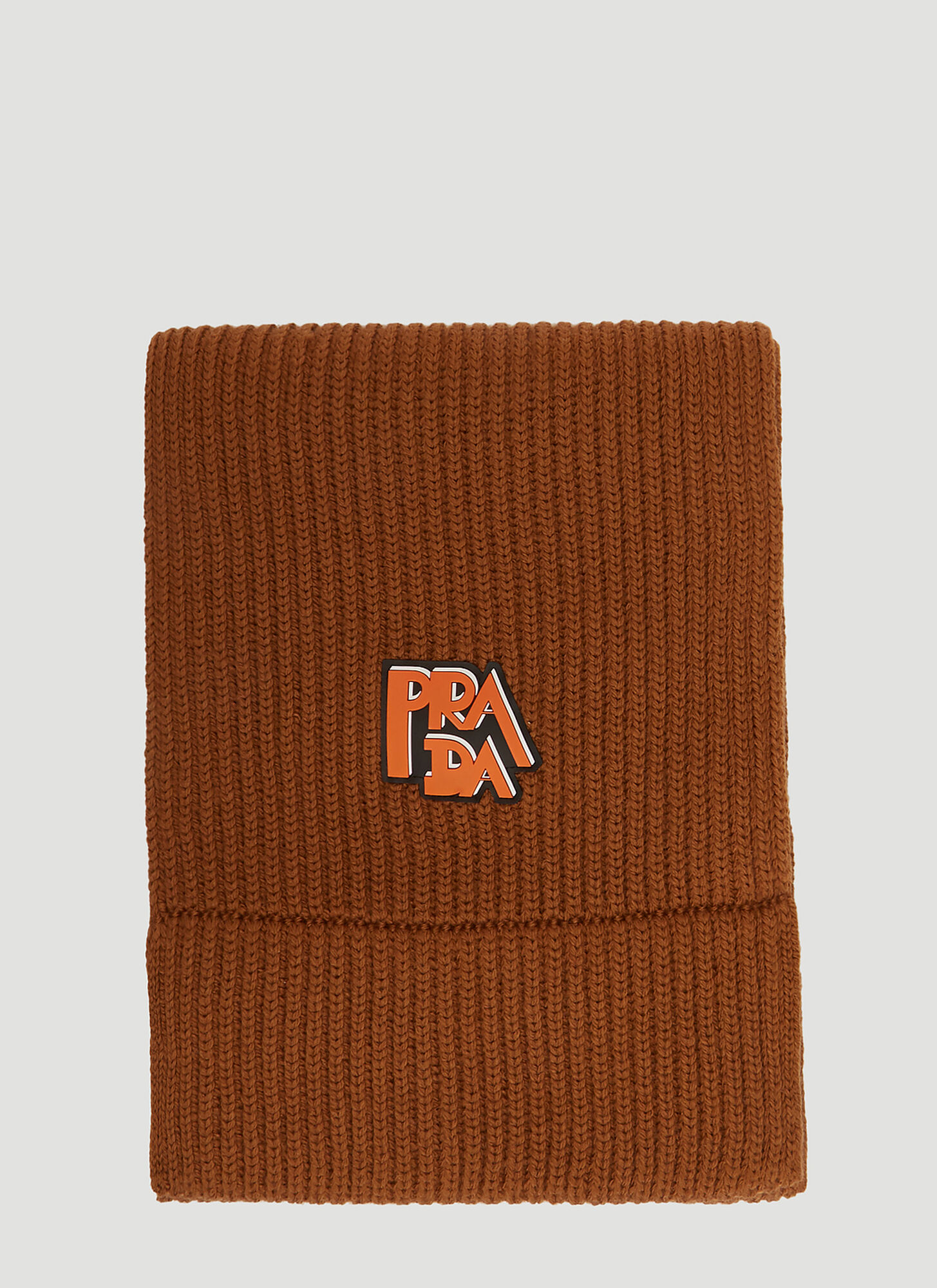 Prada Wool Ribbed Logo Scarf in Brown