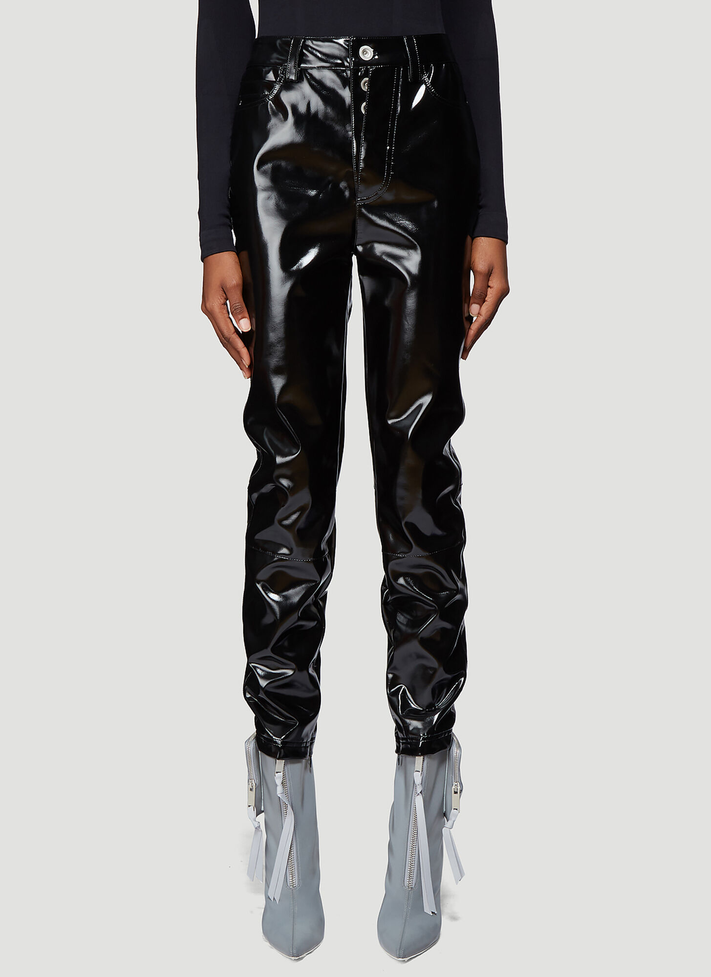 Unravel Project Latex High Waist Skinny Pants in Black