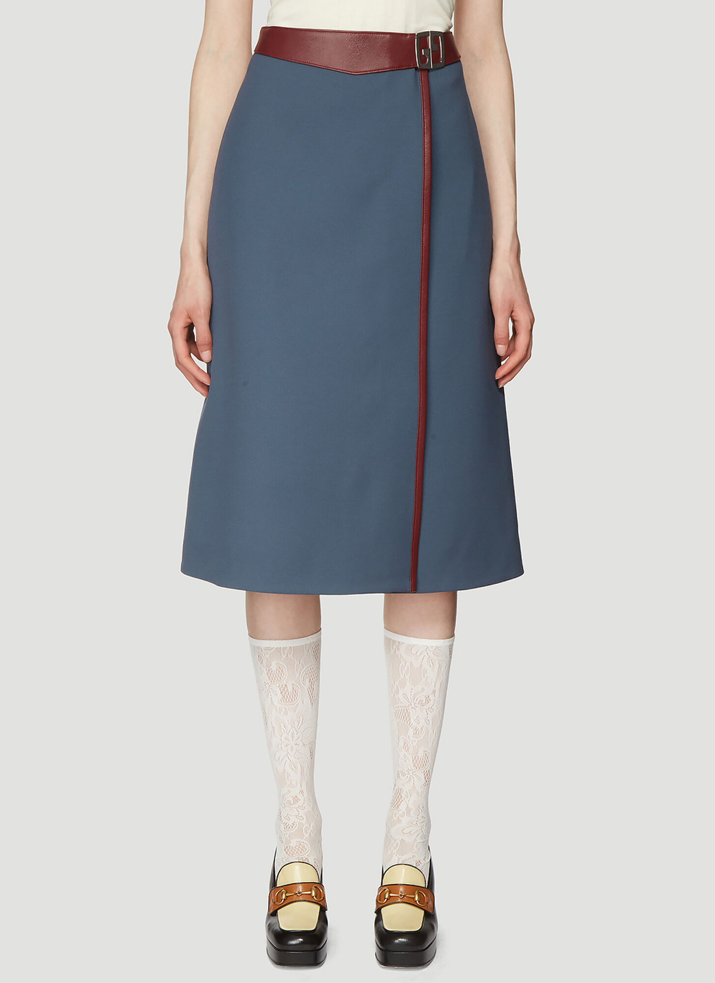 Gucci Leather Trimmed Wrap Skirt in Blue