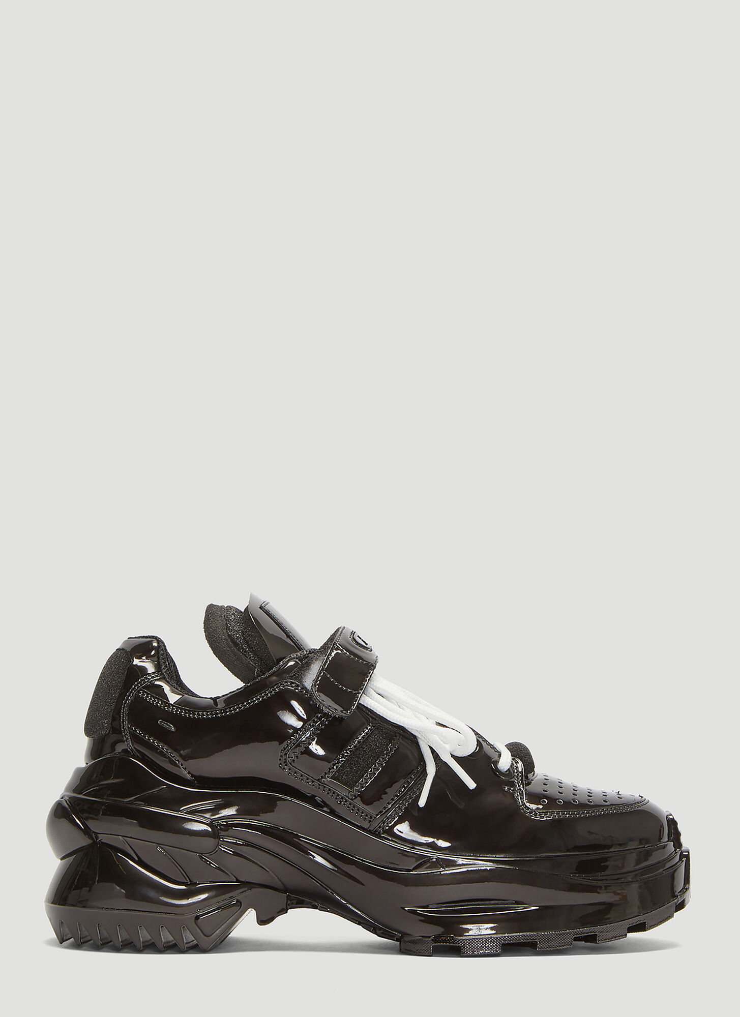 Maison Margiela Retro Fit Patent Leather Sneakers in Black